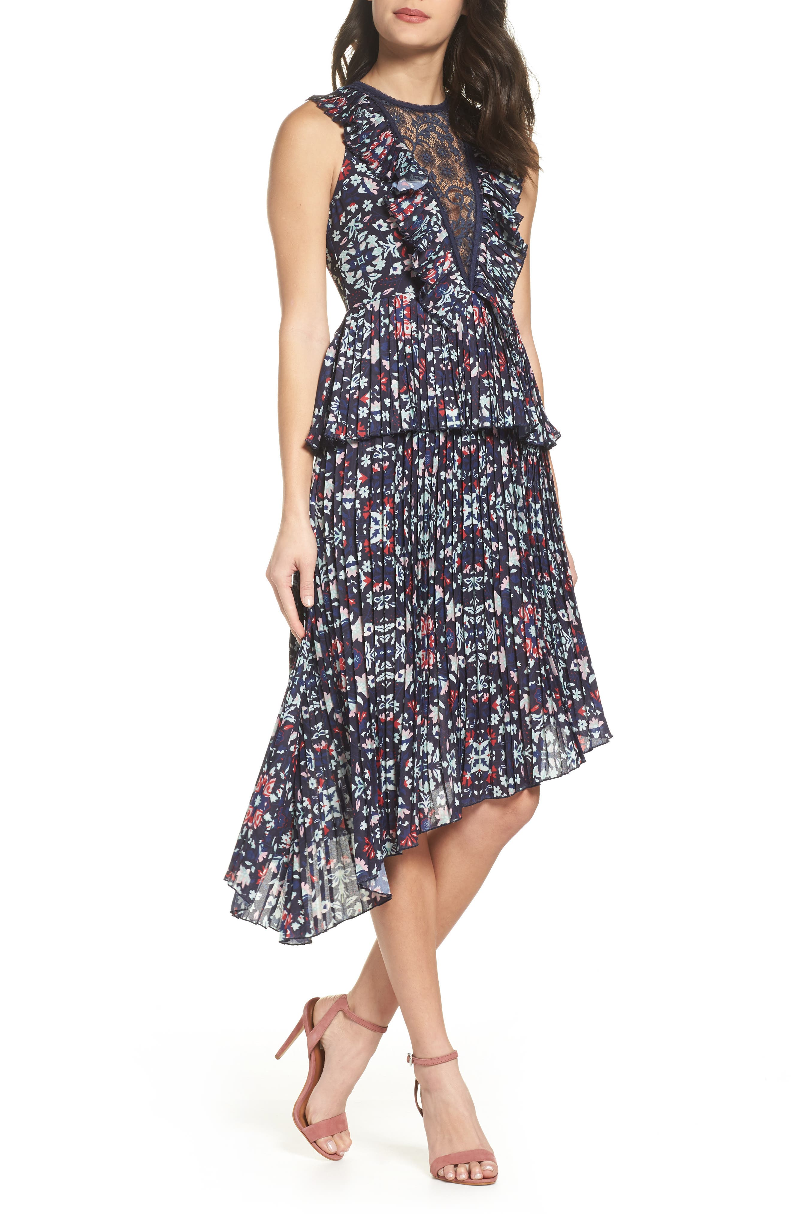 Miranda Pleat Ruffle Dress,                         Main,                         color, 400