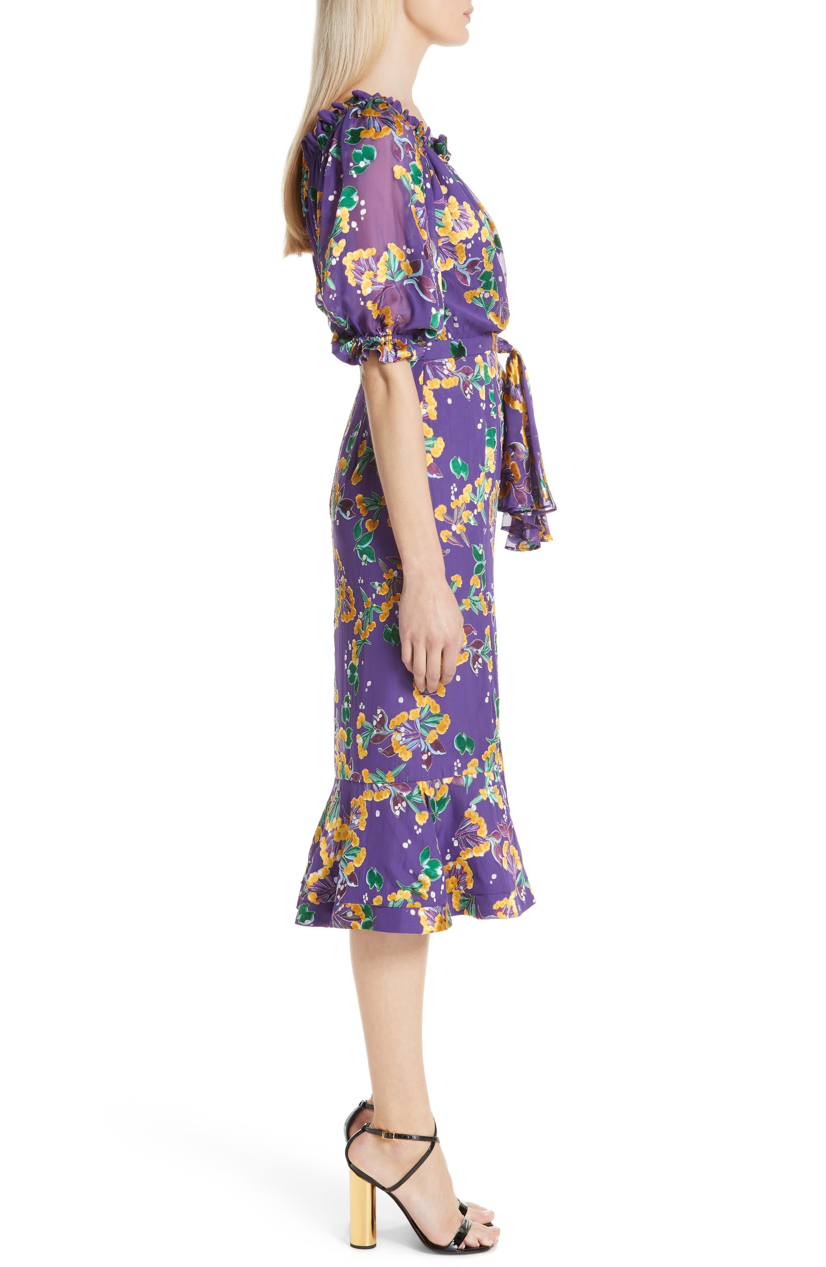 Olivia Silk Blend Midi Dress,                             Alternate thumbnail 3, color,                             VIOLET SWEETPEAS
