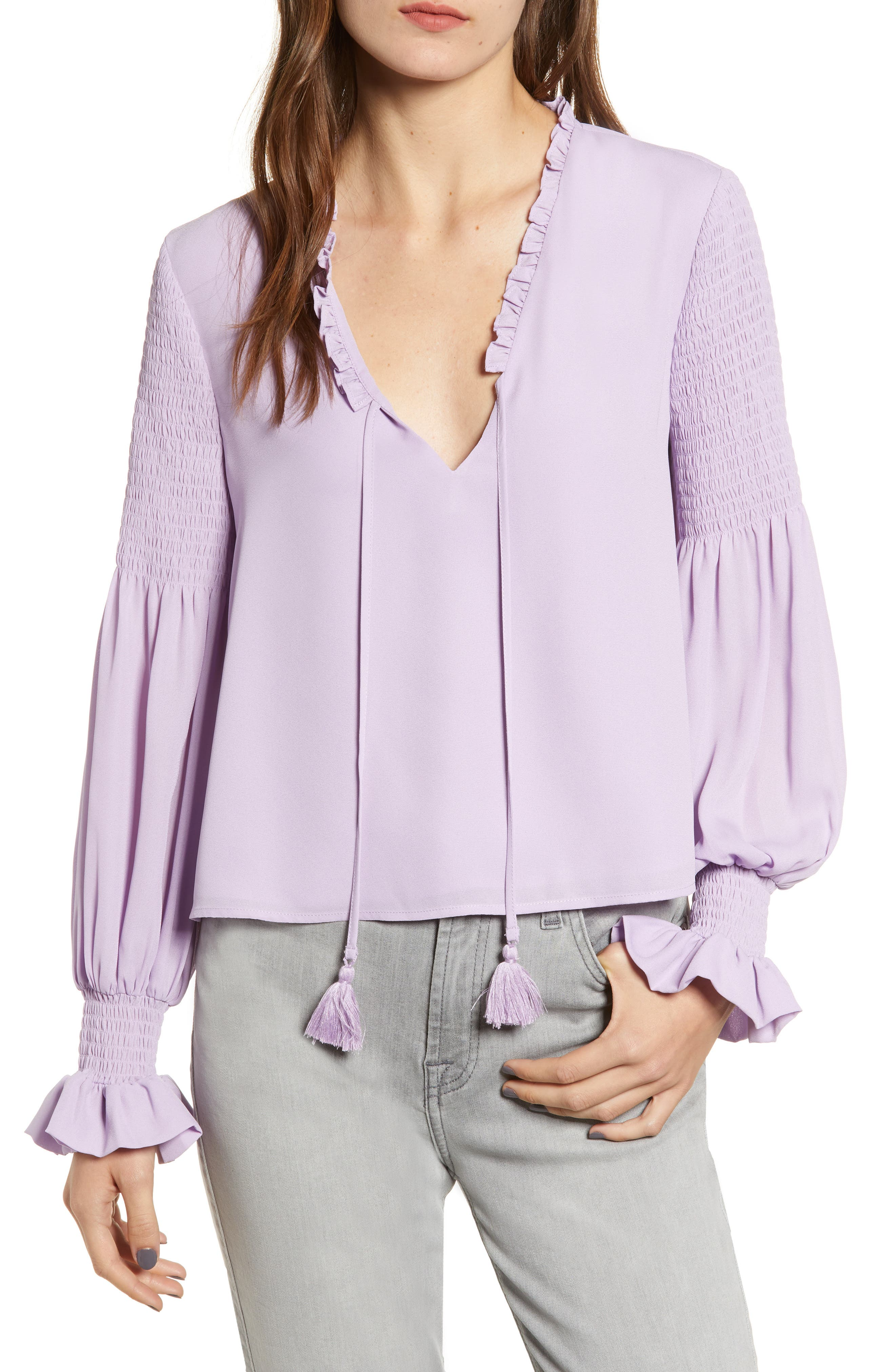 Penelope Ruffle Top,                         Main,                         color, LILAC