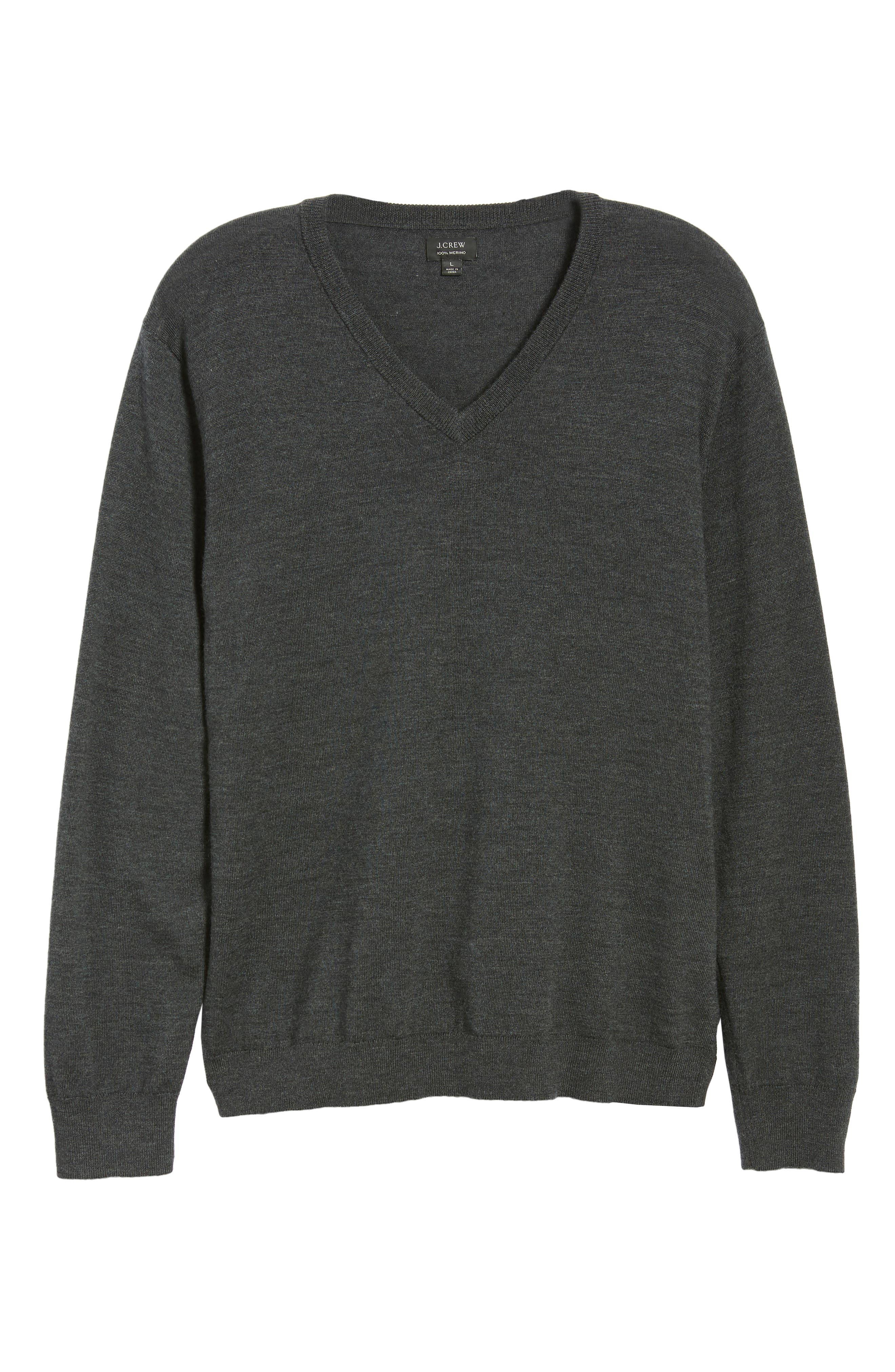 V-Neck Merino Wool Sweater,                             Alternate thumbnail 6, color,                             HEATHER CHARCOAL