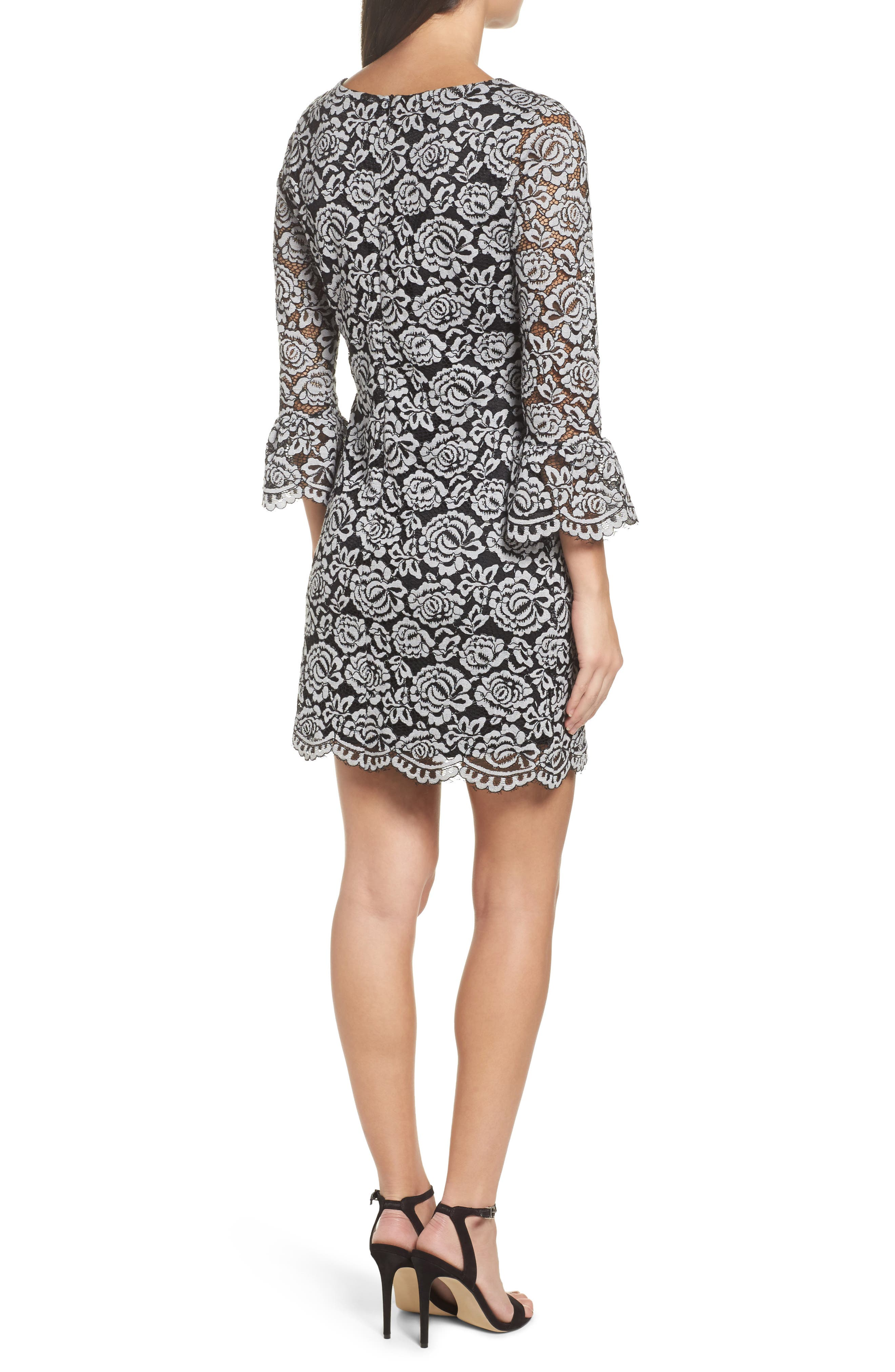 Lace Bell Sleeve Dress,                             Alternate thumbnail 5, color,