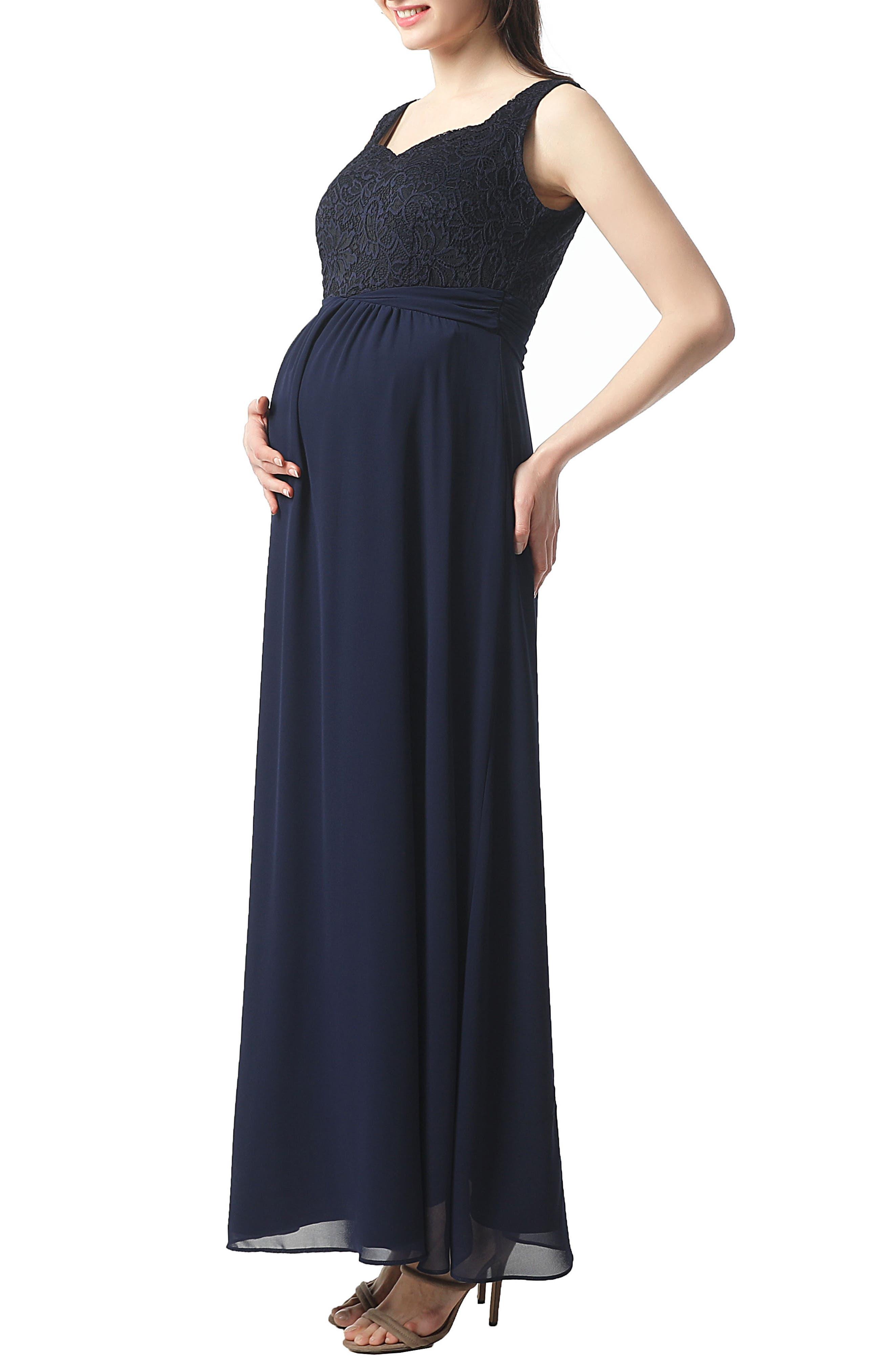 Kyra Maternity Maxi Dress,                             Alternate thumbnail 3, color,                             NAVY