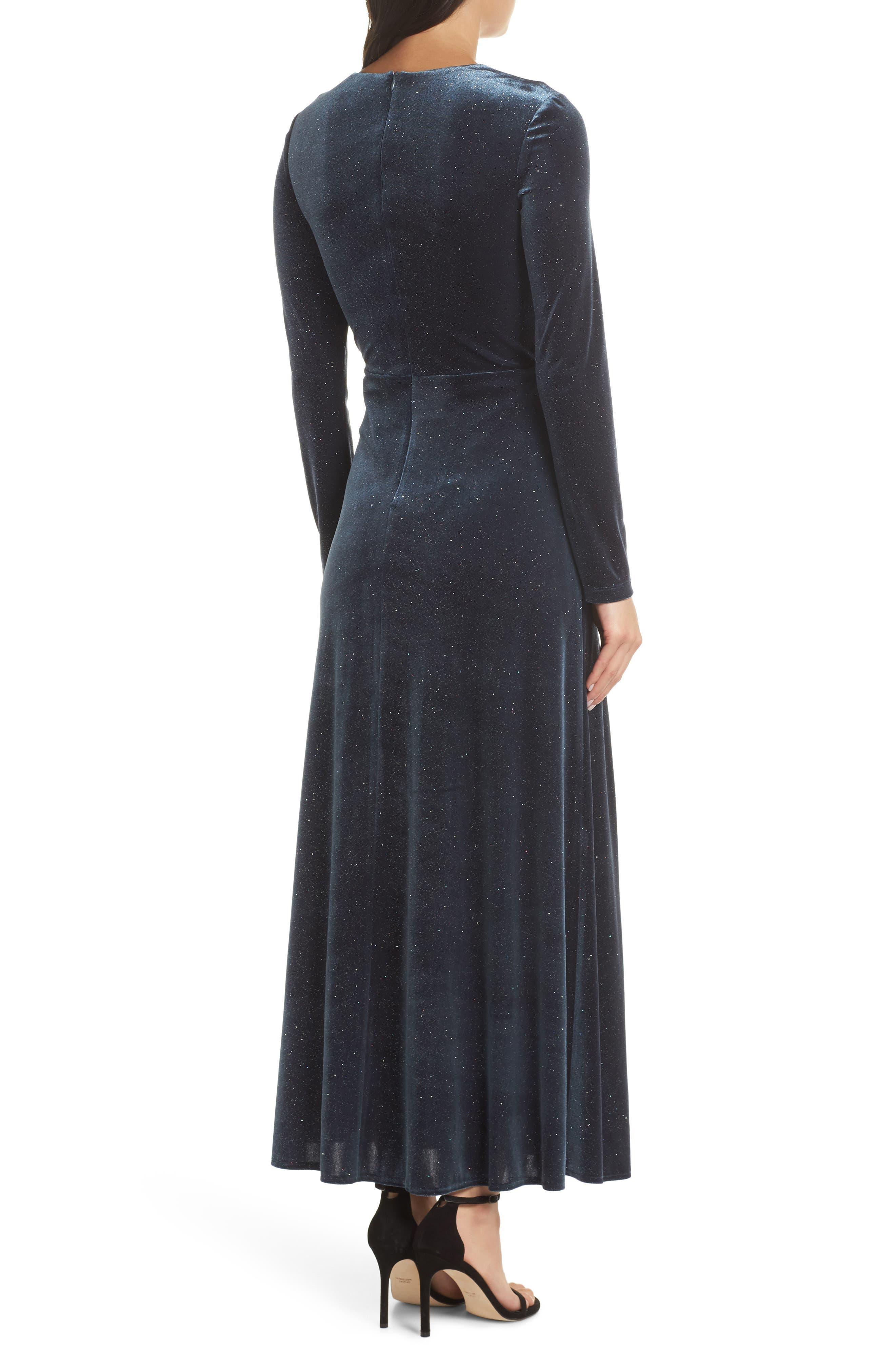 Sparkle Velvet Maxi Dress,                             Alternate thumbnail 2, color,                             MIDNIGHT