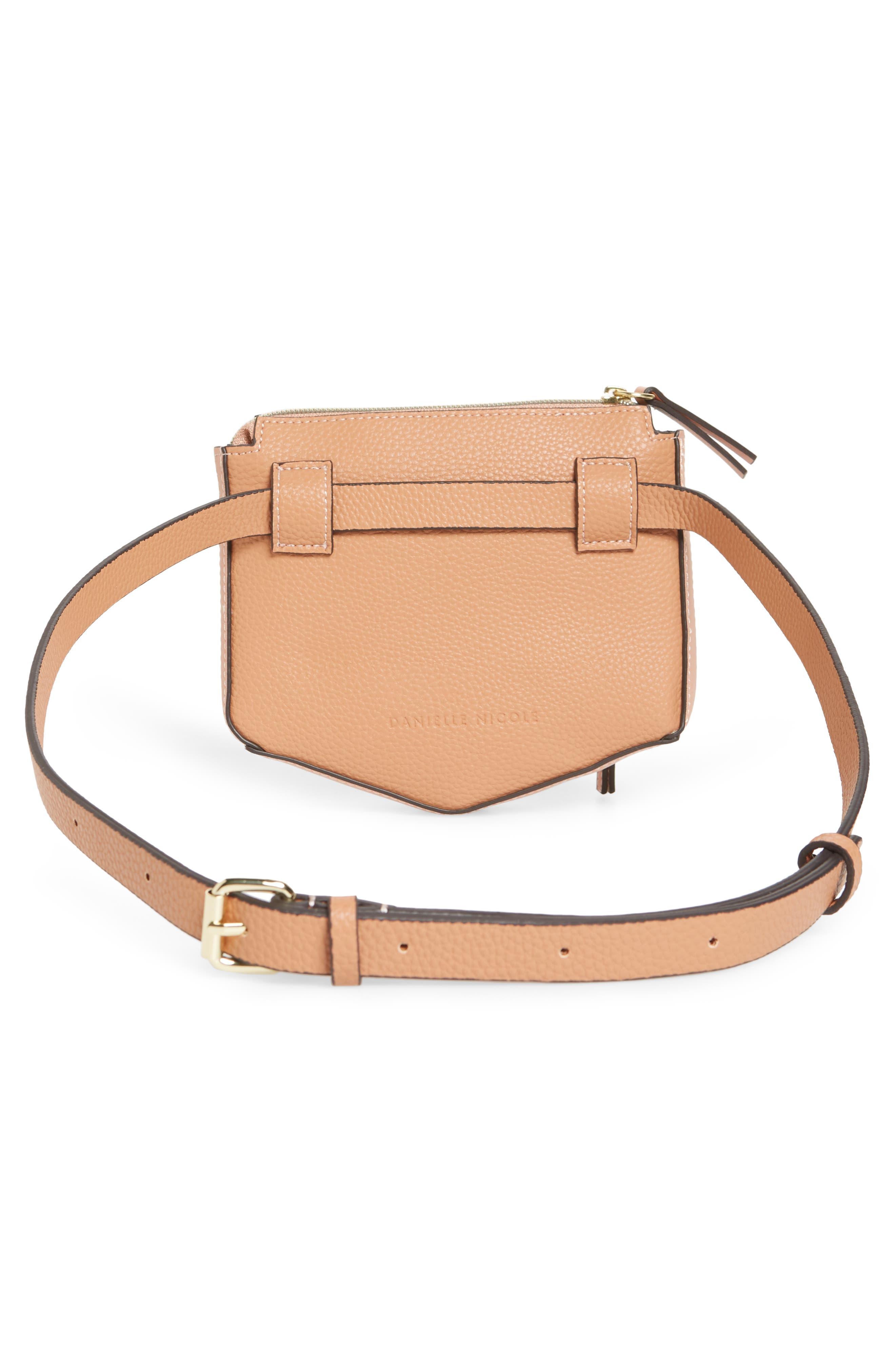 Elia Faux Leather Belt Bag,                             Alternate thumbnail 4, color,                             TAN COMBO