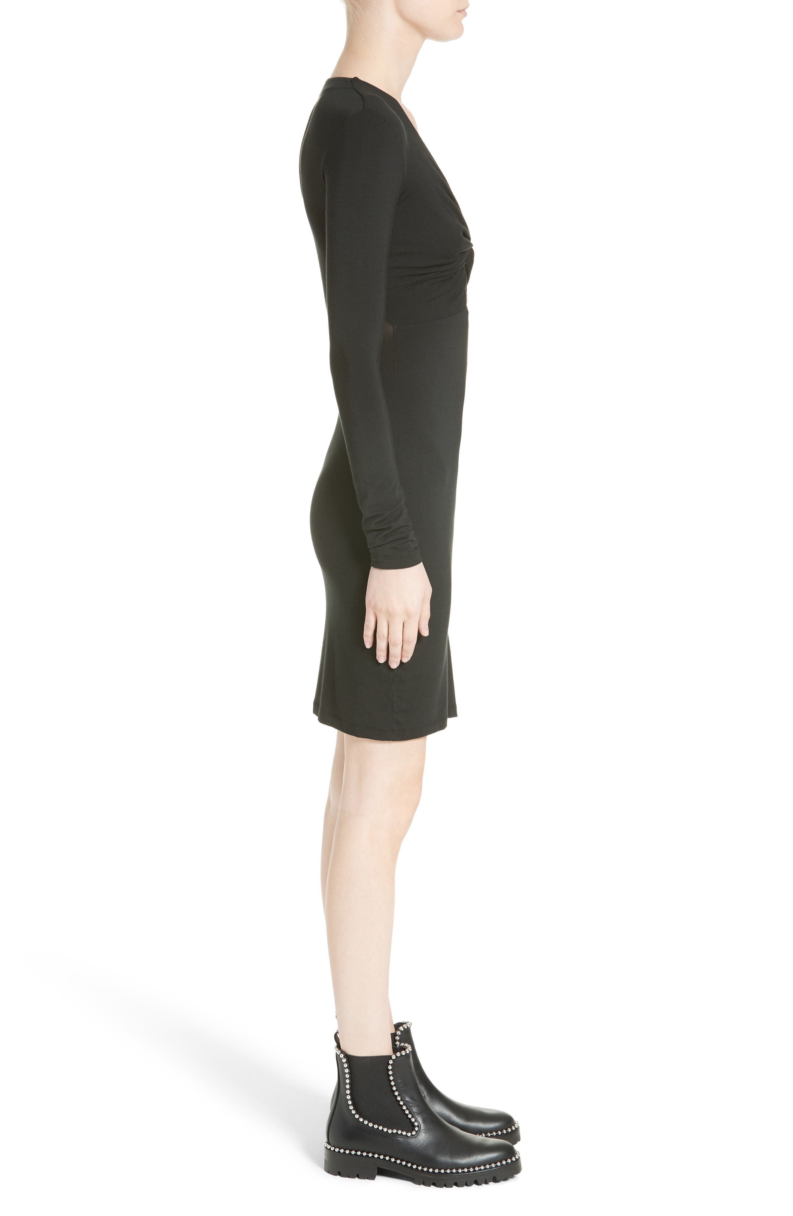 Twist Front Body-Con Dress,                             Alternate thumbnail 3, color,                             001
