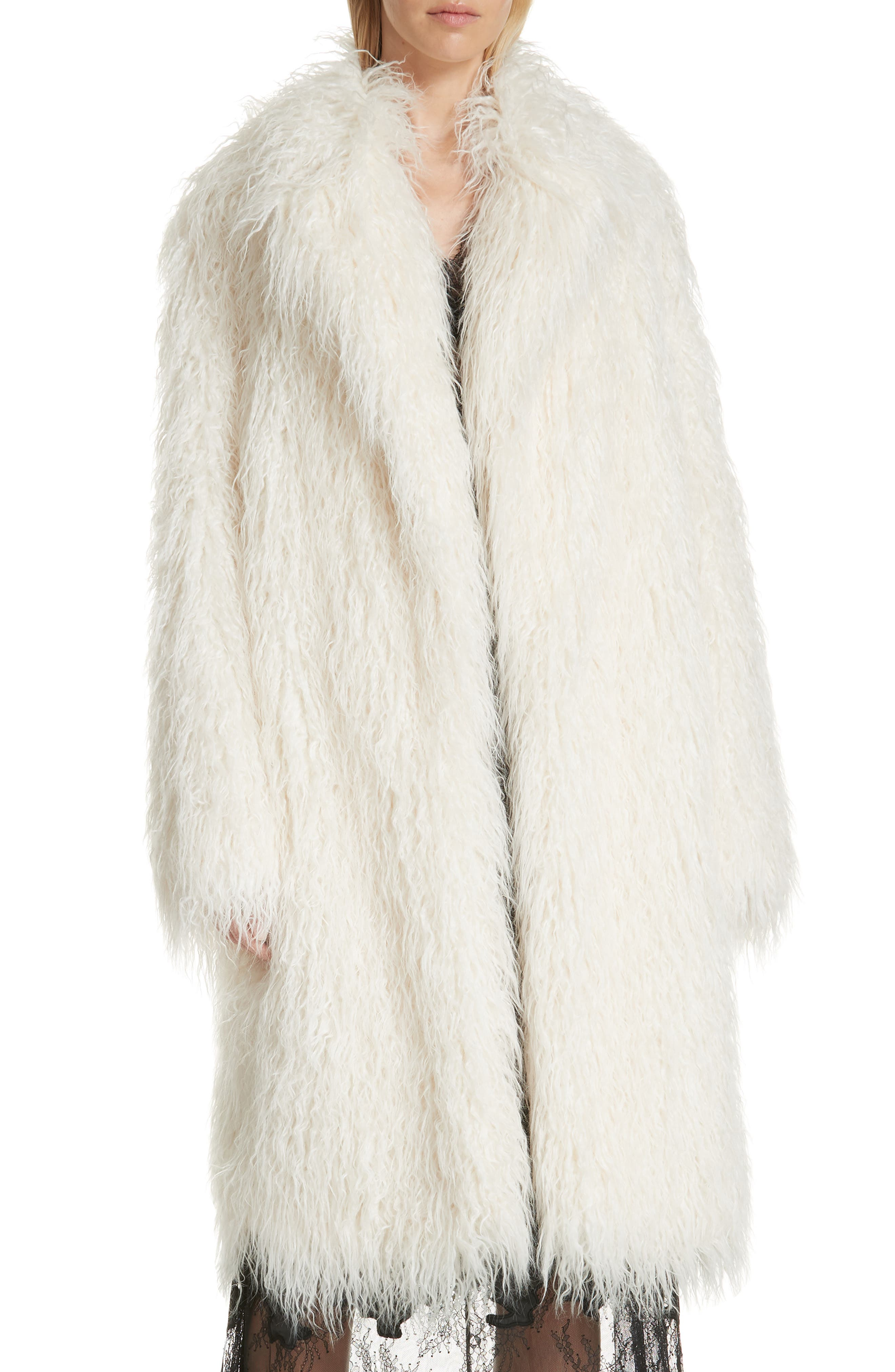Mongolian Faux Fur Coat,                         Main,                         color, IVORY
