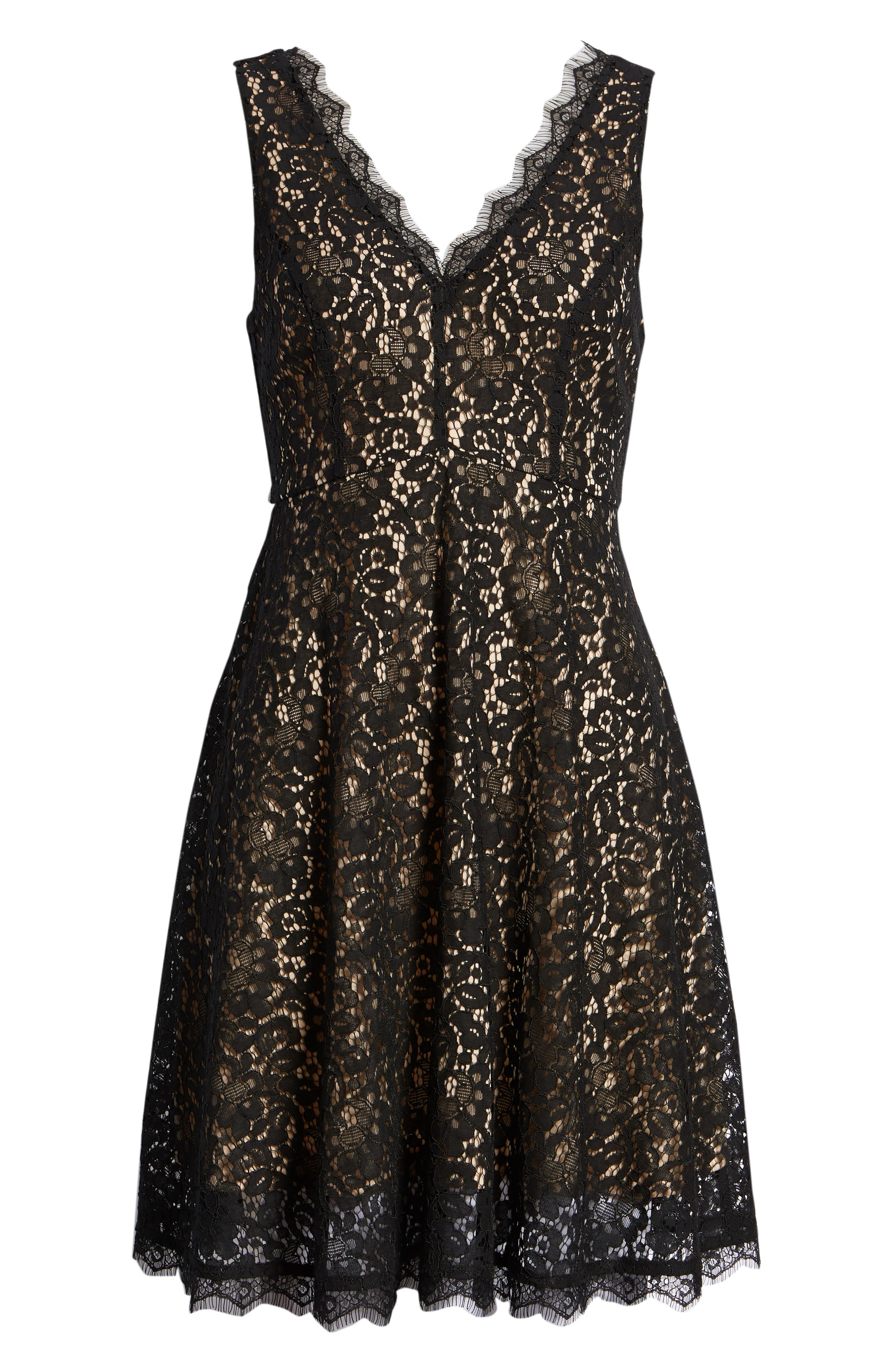 Lace Fit & Flare Dress,                             Alternate thumbnail 7, color,                             001
