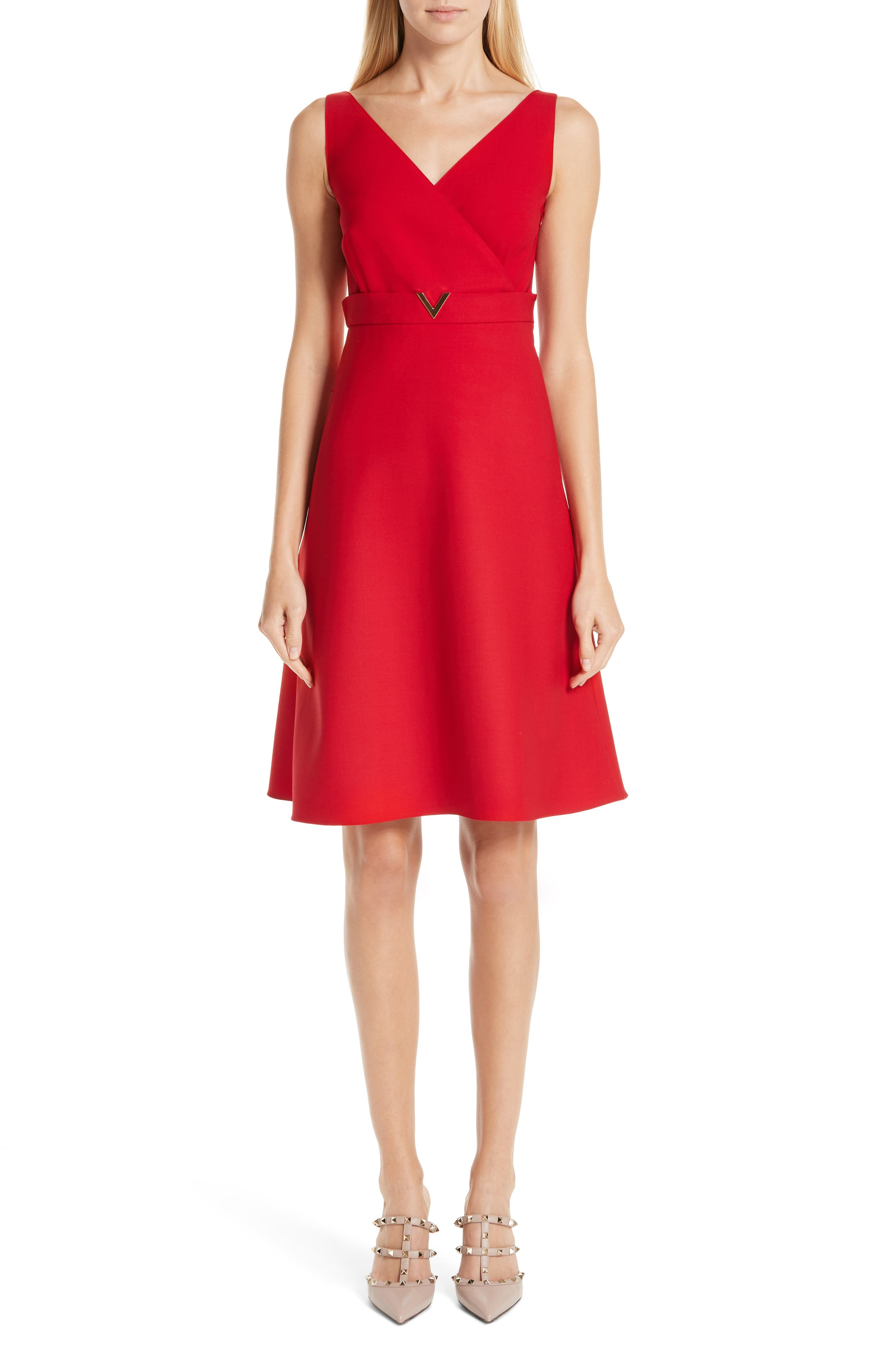 Valentino V-Hardware Double Crepe Dress, Red