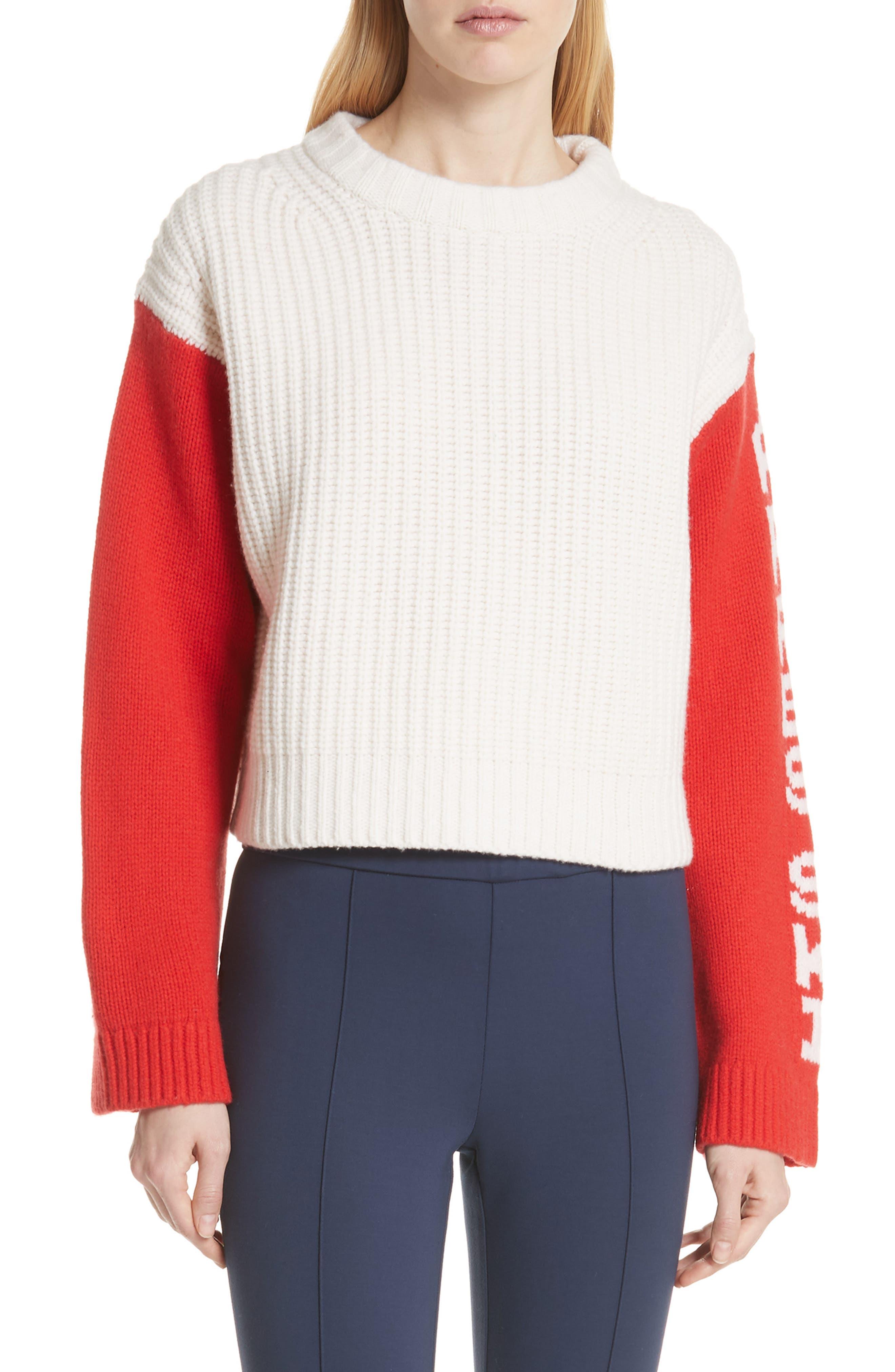 Tory Sport Crop Apres Ski Sweater, White