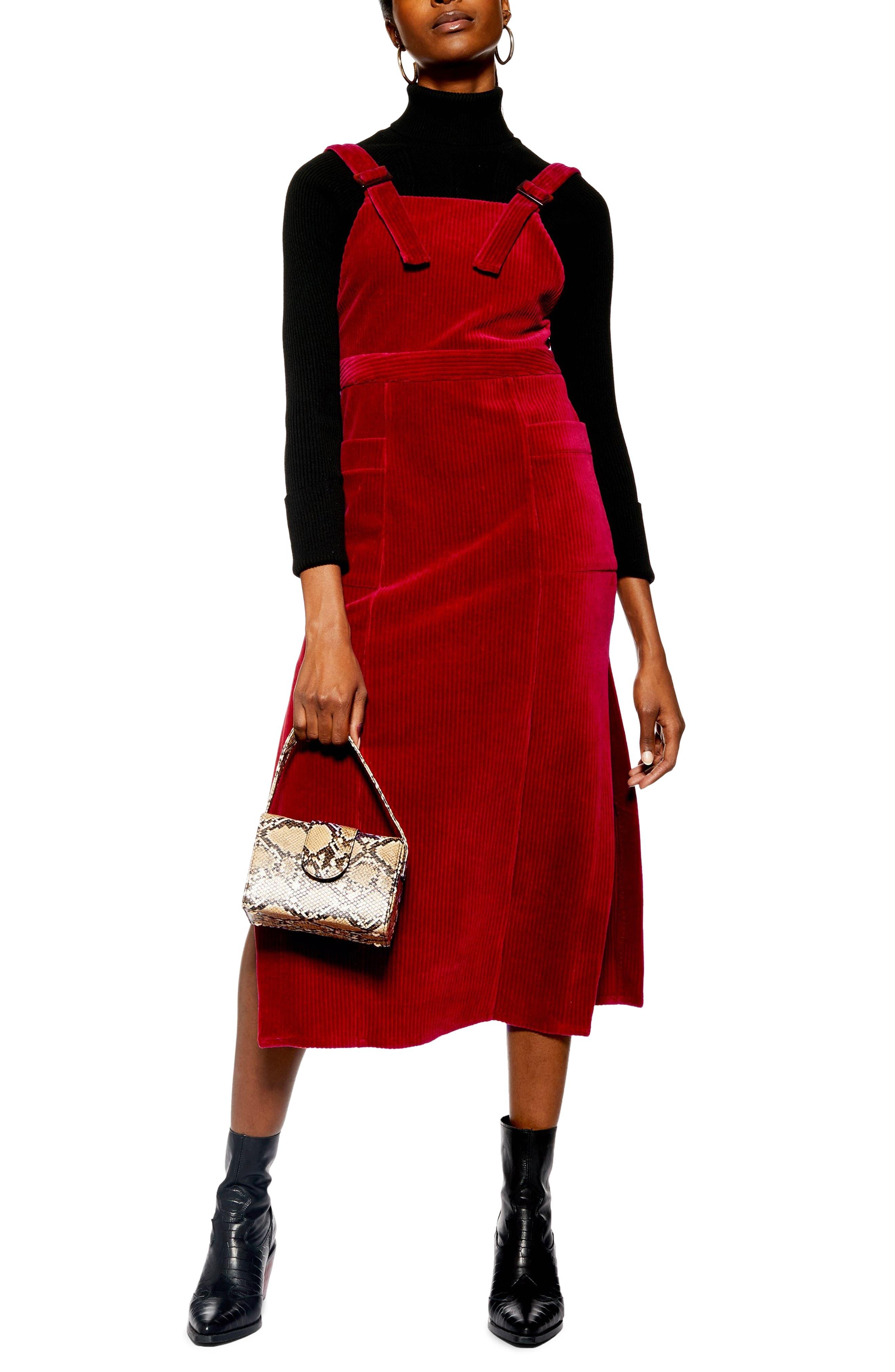 Topshop Corduory Pinafore Midi Dress, US (fits like 0) - Burgundy