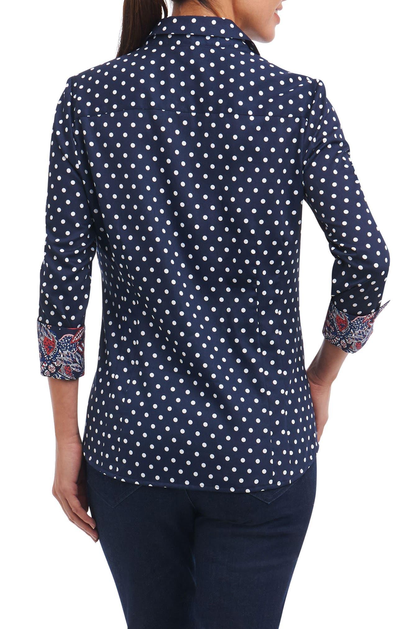Taylor Classic Dot Non-Iron Cotton Shirt,                             Alternate thumbnail 2, color,