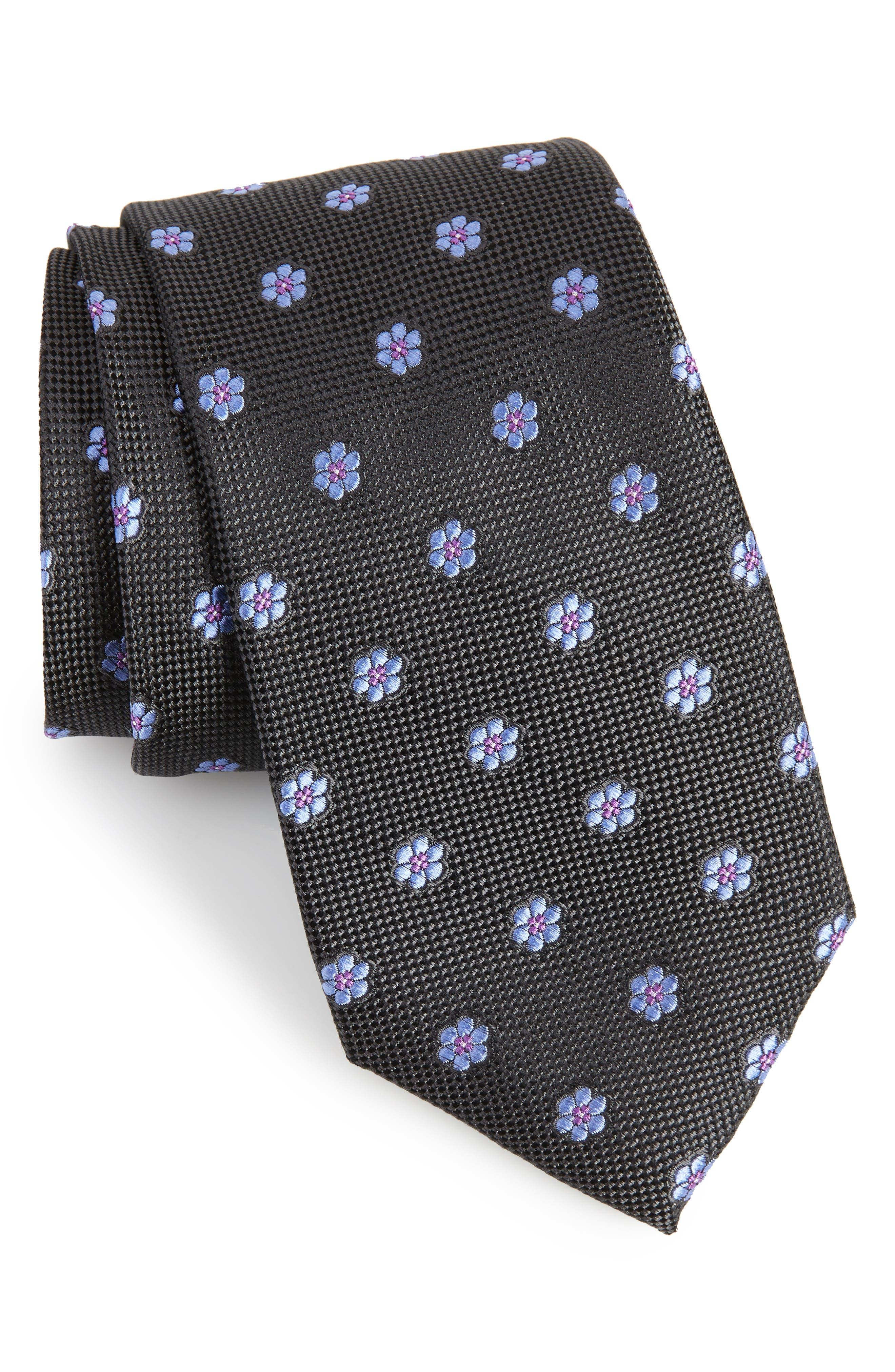Calibrate Cloisters Neat Silk Tie,                             Main thumbnail 1, color,                             001