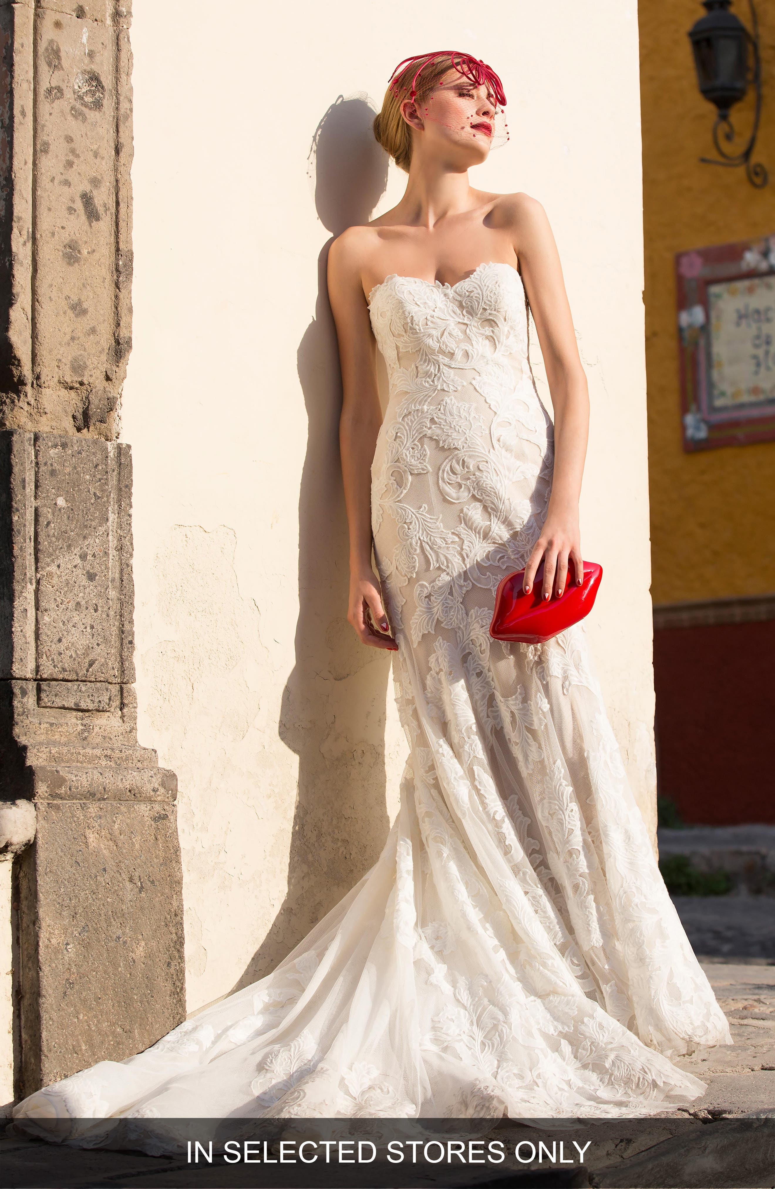 Tris Embroidered Strapless English Net Trumpet Gown,                             Main thumbnail 1, color,                             IVORY/ NUDE