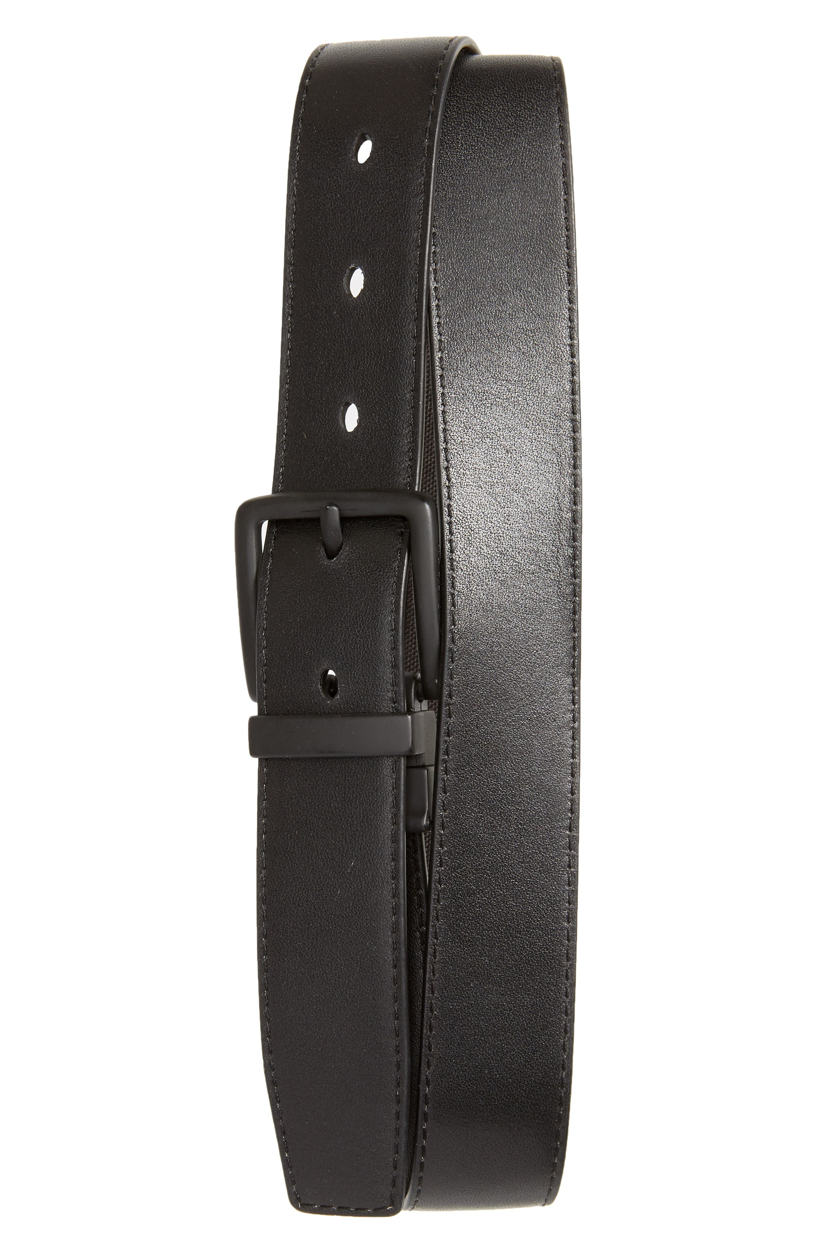 Reversible Nylon Inlay Leather Belt,                             Alternate thumbnail 2, color,                             BLACK