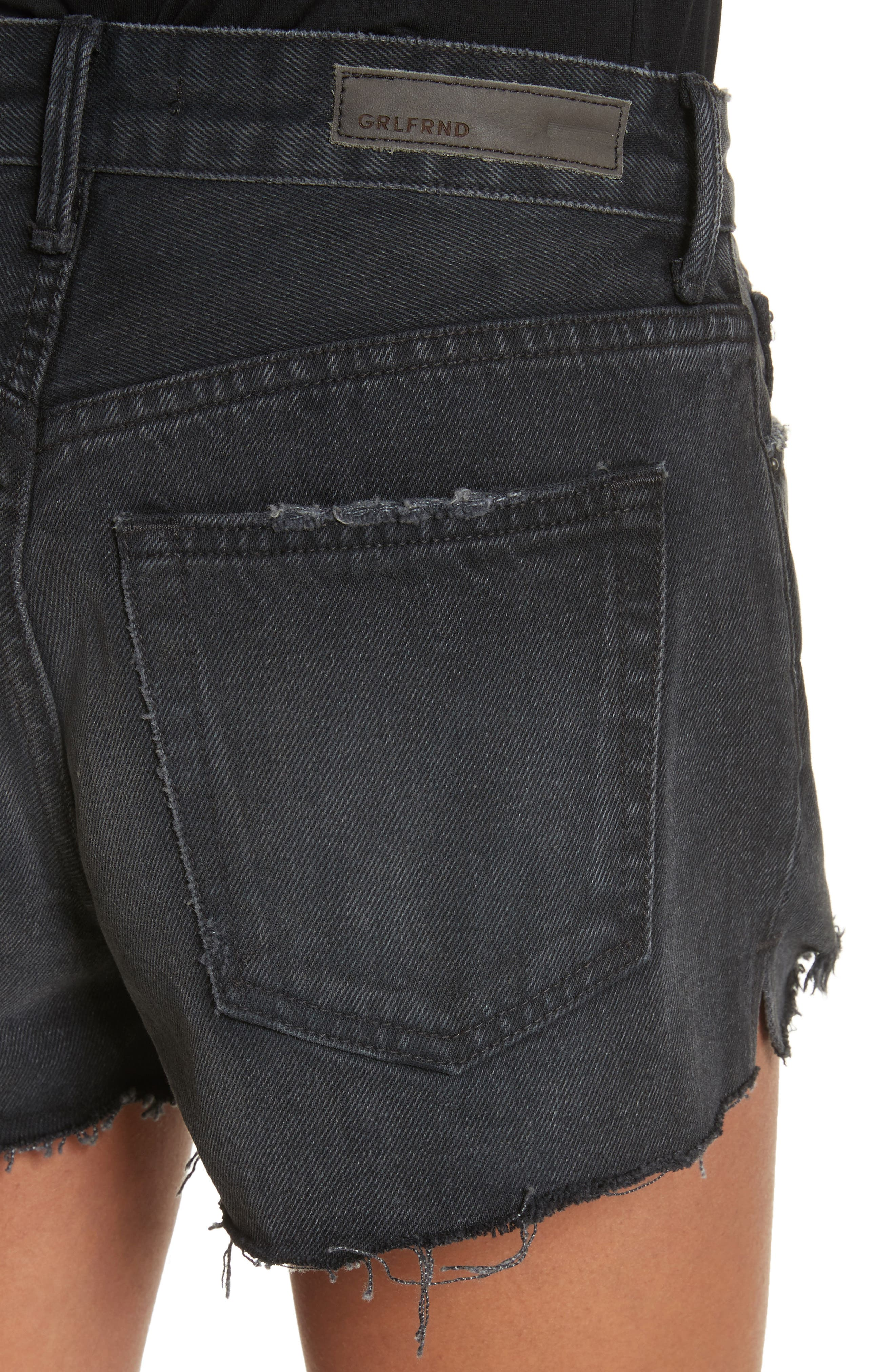 Cindy Rigid High Waist Denim Shorts,                             Alternate thumbnail 4, color,                             007