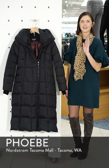 Pillow Collar Quilted Down Long Coat, sales video thumbnail