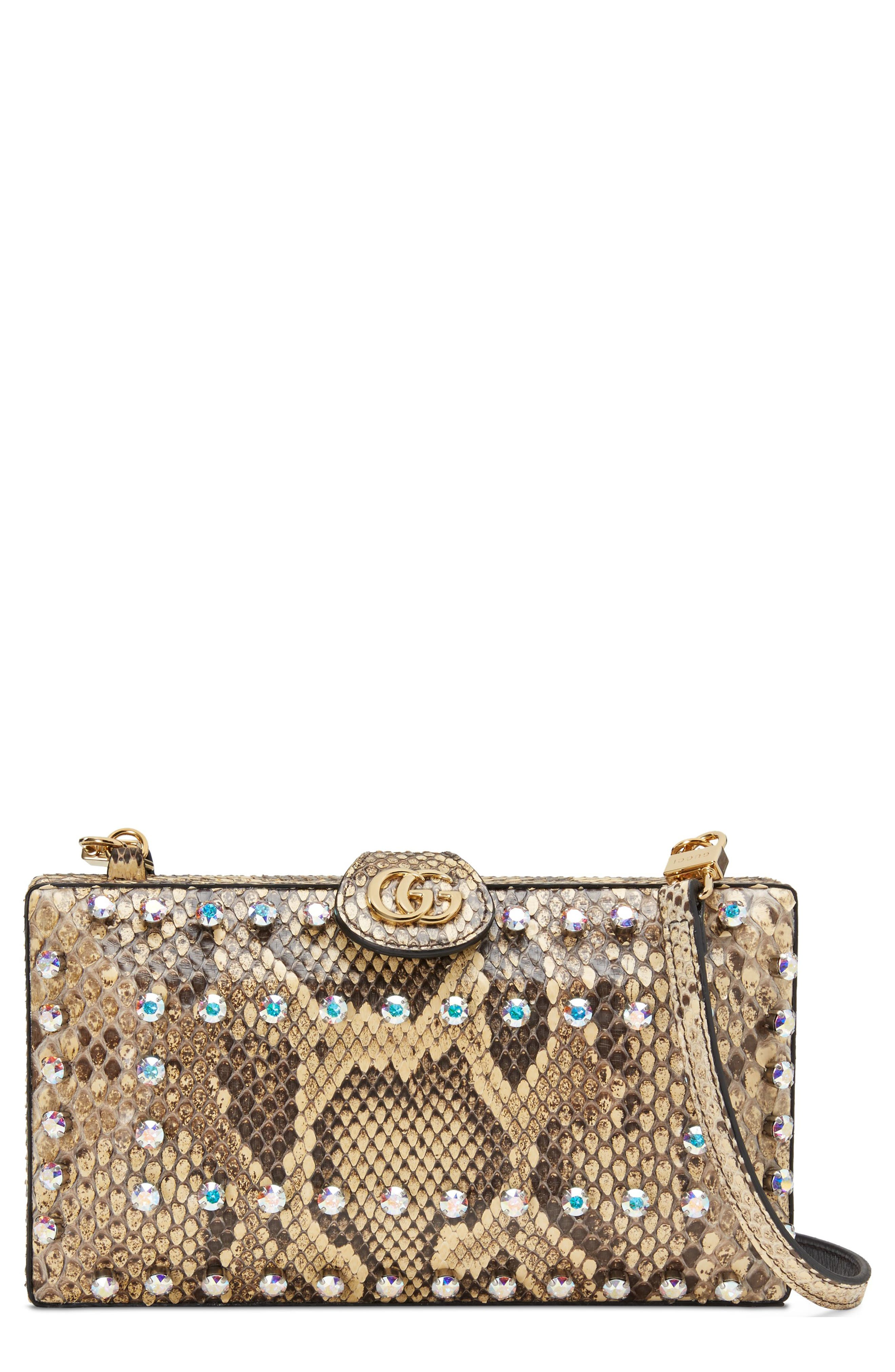Broadway Genuine Python Minaudière,                         Main,                         color, BEIGE/ NATURAL YELLOW/ CRYSTAL