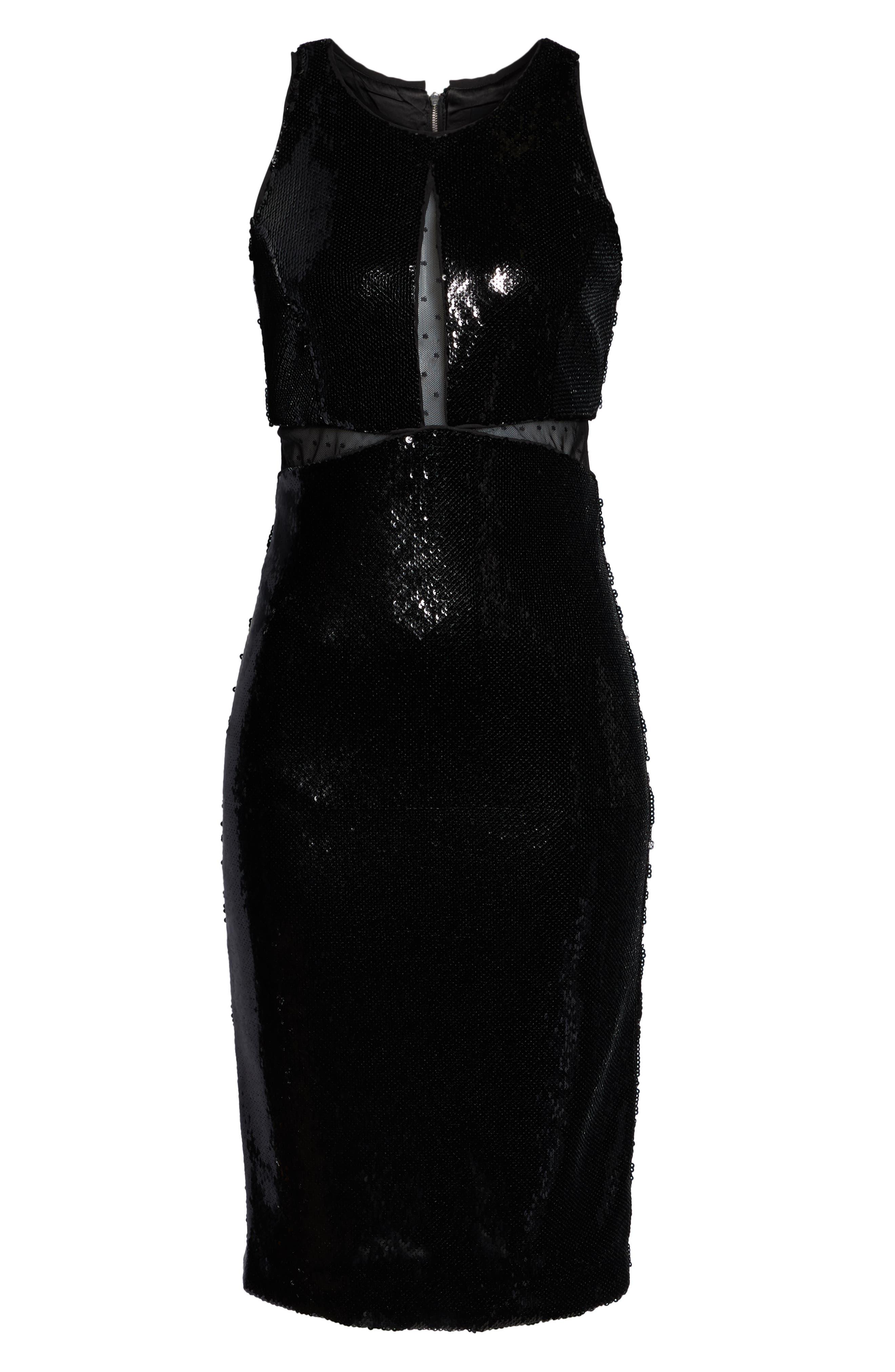 BARDOT,                             Splice Sequin Sheath Dress,                             Alternate thumbnail 6, color,                             BLACK