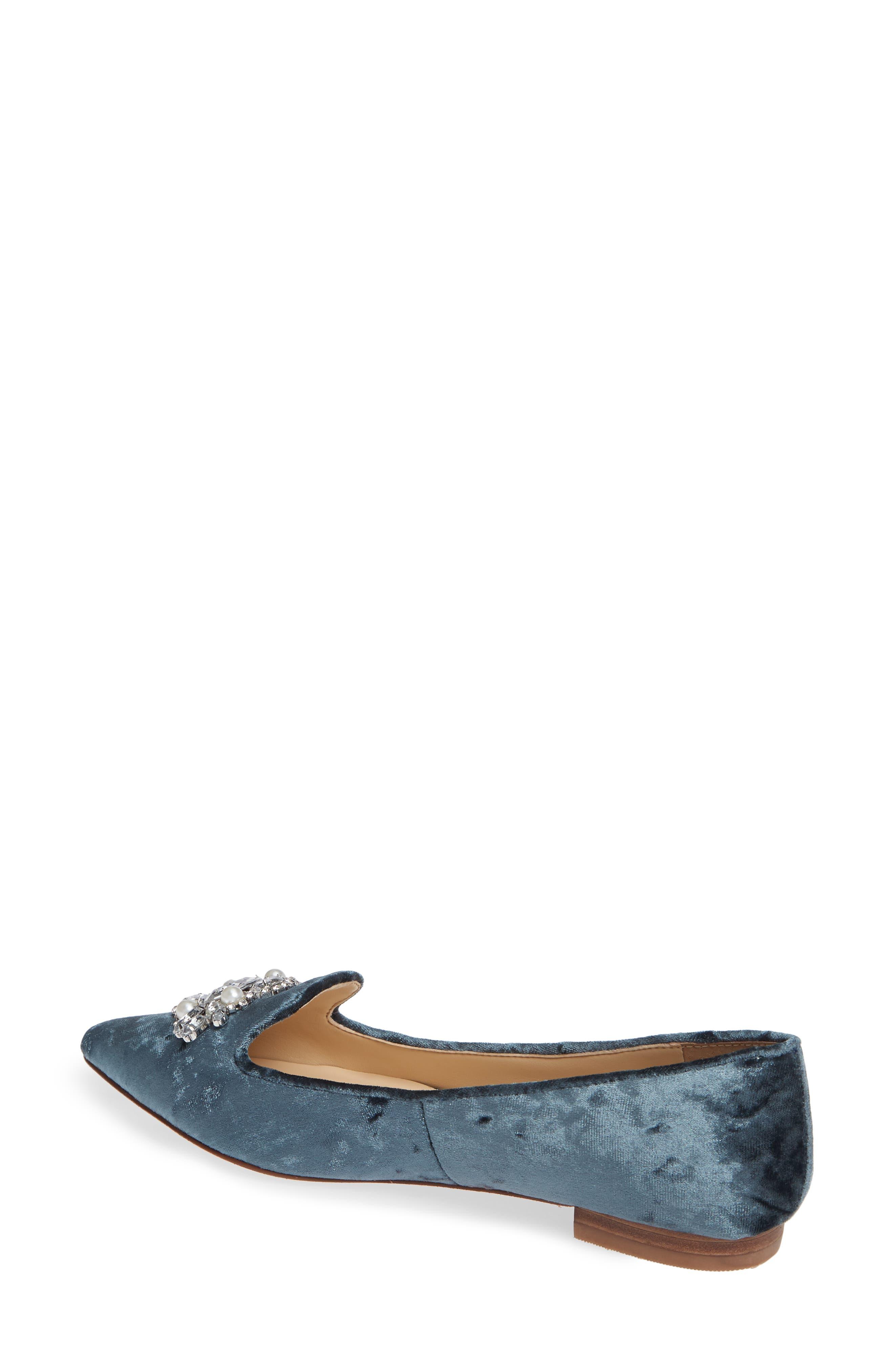 Libry Crystal Embellished Flat,                             Alternate thumbnail 2, color,                             CLOUD BLUE VELVET