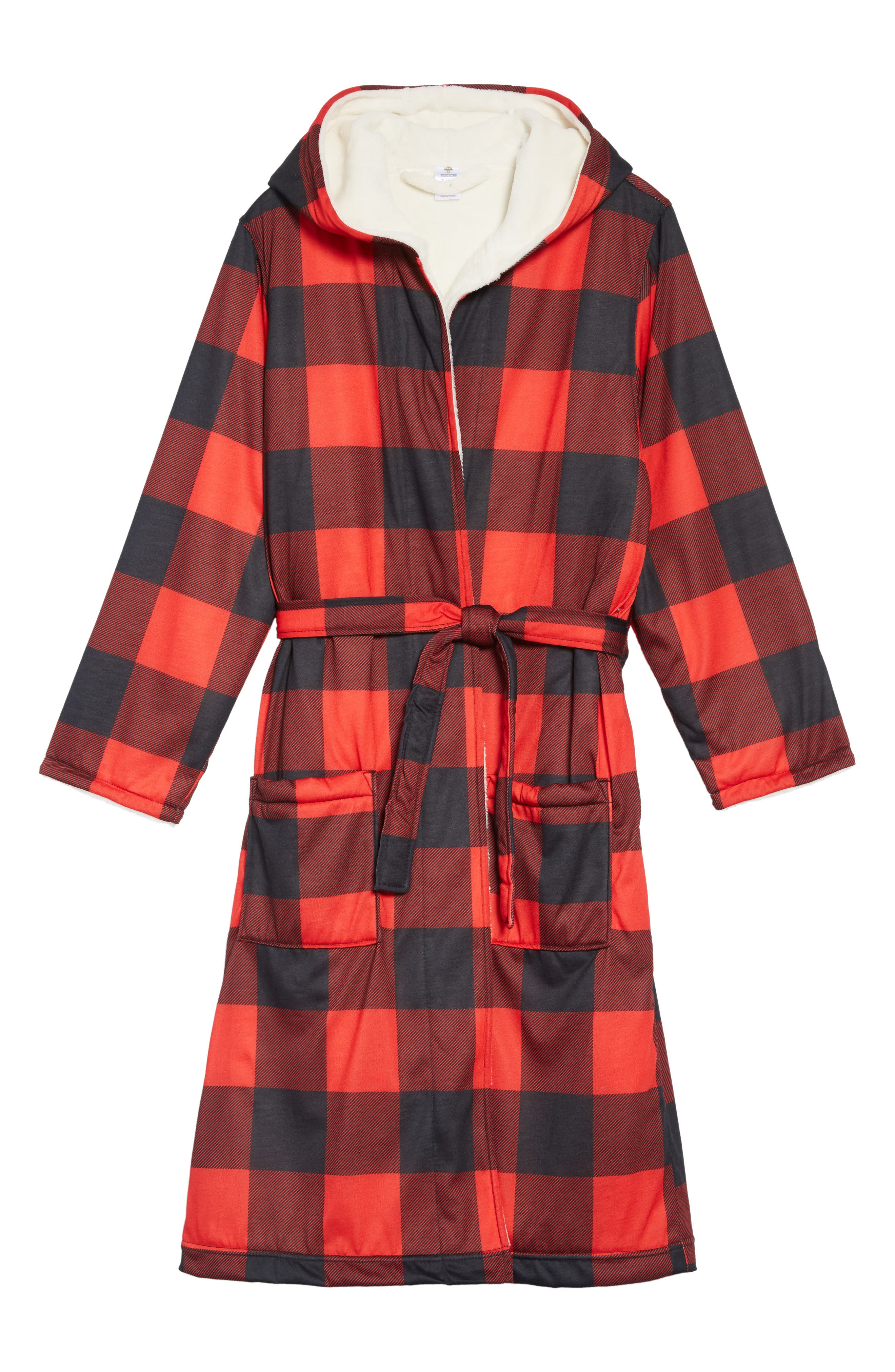 Fleece Lined Hooded Robe,                             Main thumbnail 1, color,                             RED BLOOM- BLACK CHECK