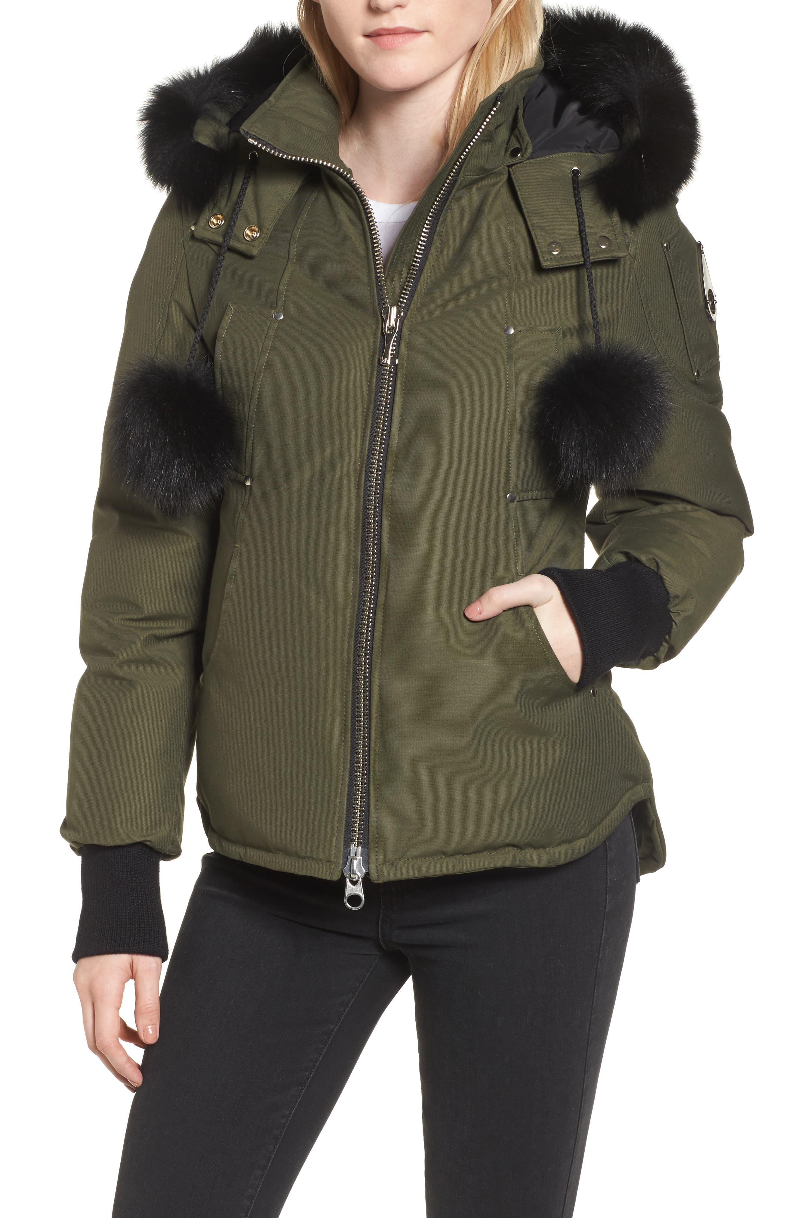 Genuine Fox Fur Trim Hooded Down Jacket,                         Main,                         color, 300