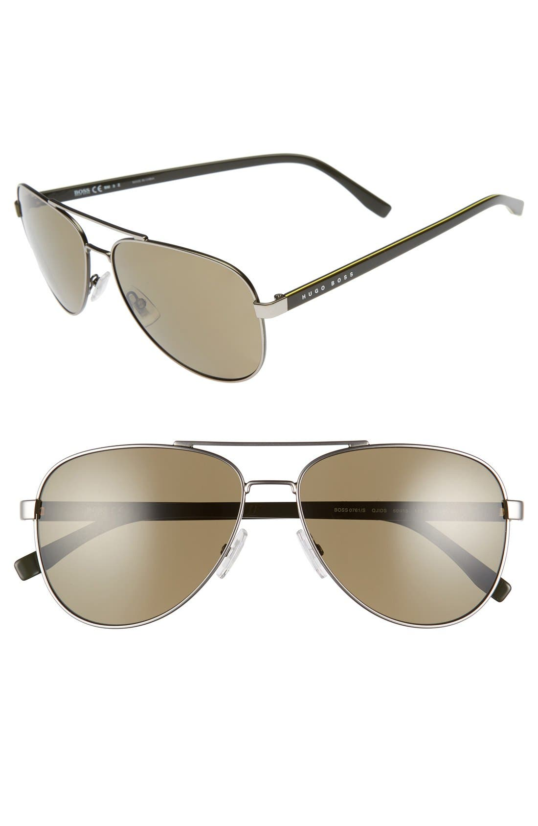 '0761/S' 60mm Polarized Aviator Sunglasses,                             Main thumbnail 2, color,