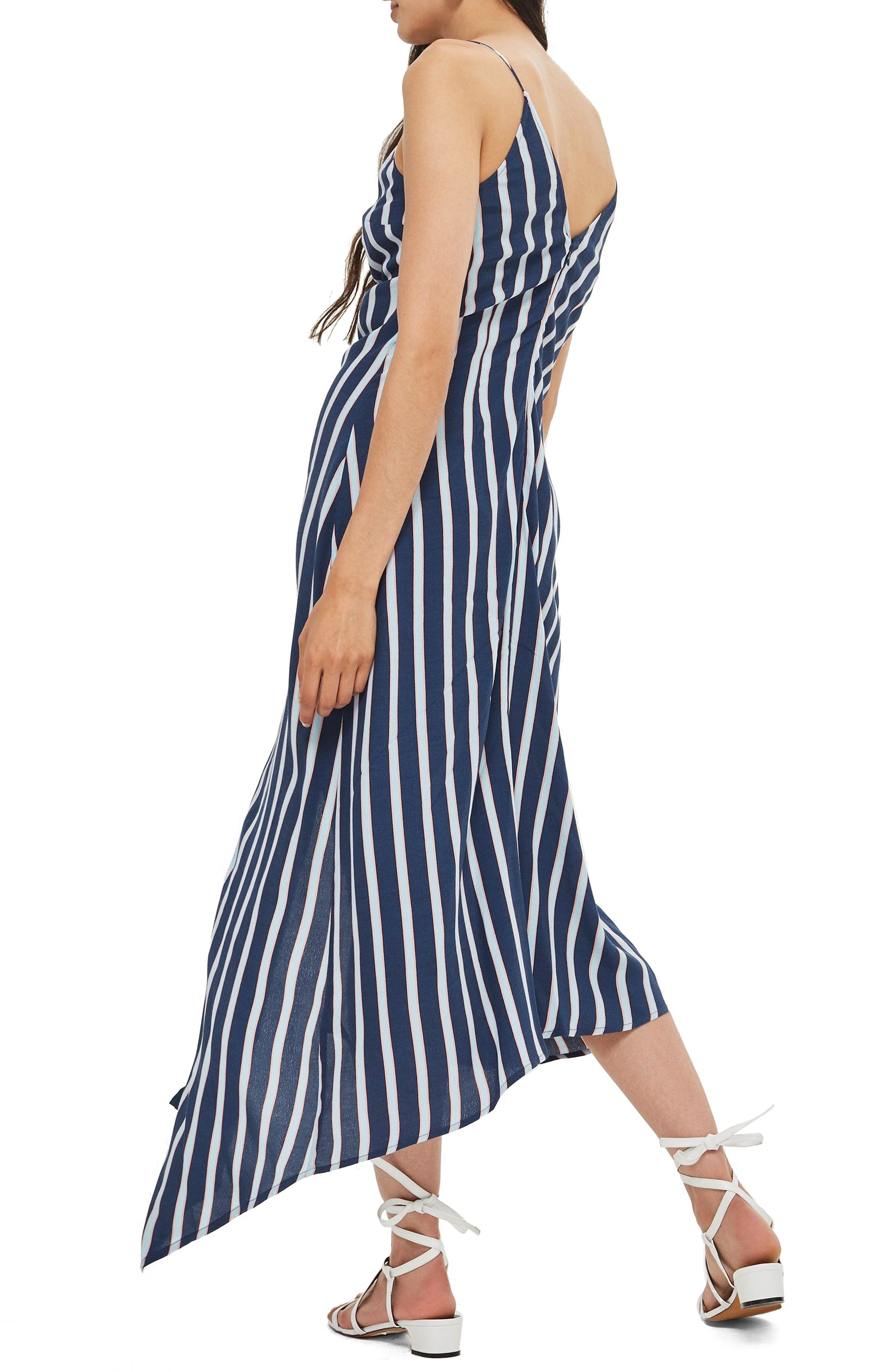 Stripe Ruched Slipdress,                             Alternate thumbnail 2, color,                             400