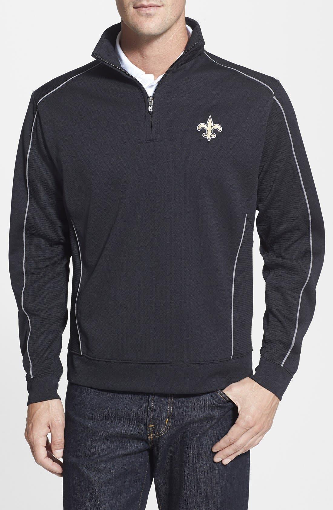 New Orleans Saints - Edge DryTec Moisture Wicking Half Zip Pullover,                             Main thumbnail 1, color,                             001