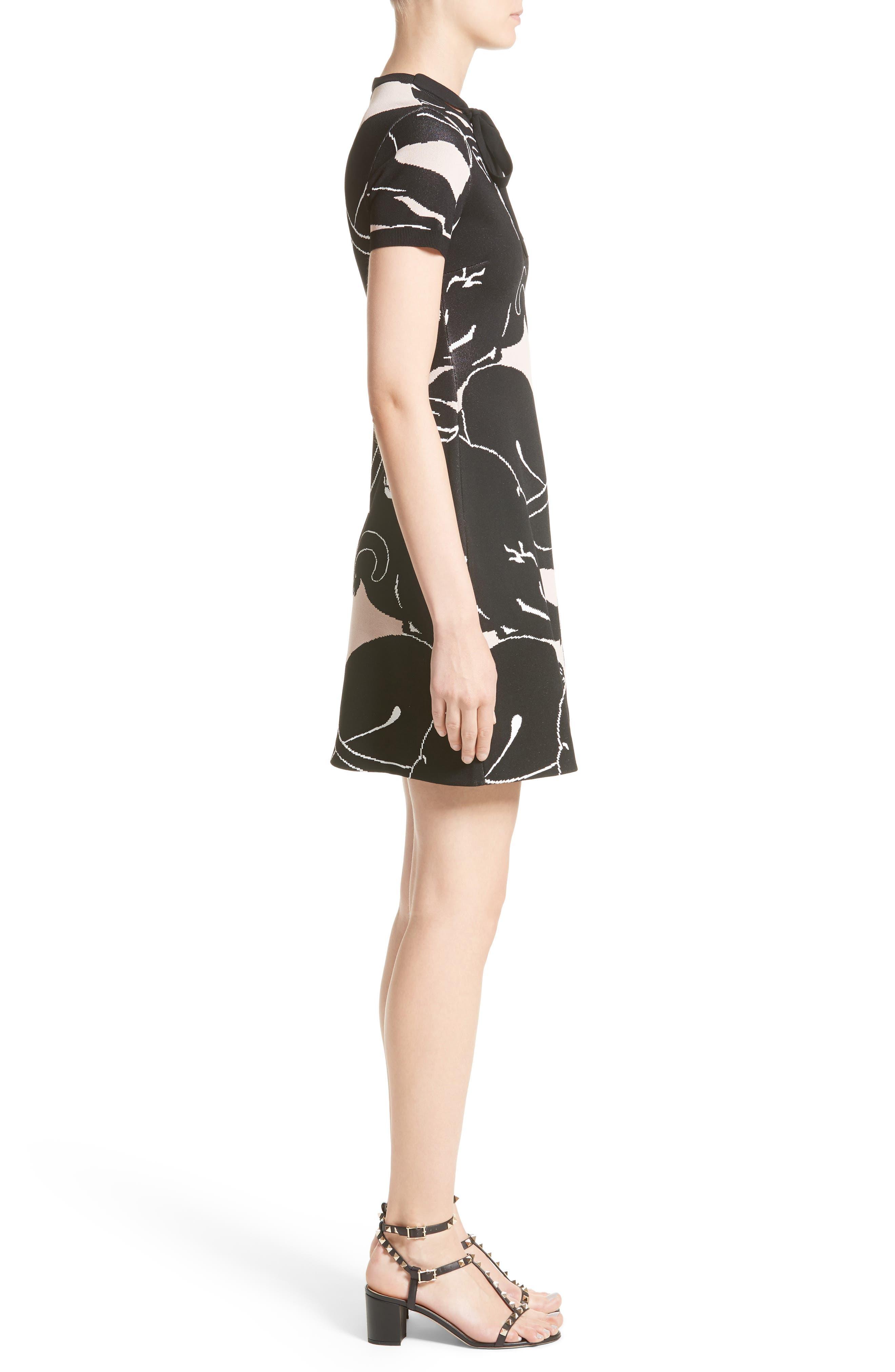 Jacquard Panther Print Dress,                             Alternate thumbnail 3, color,                             001