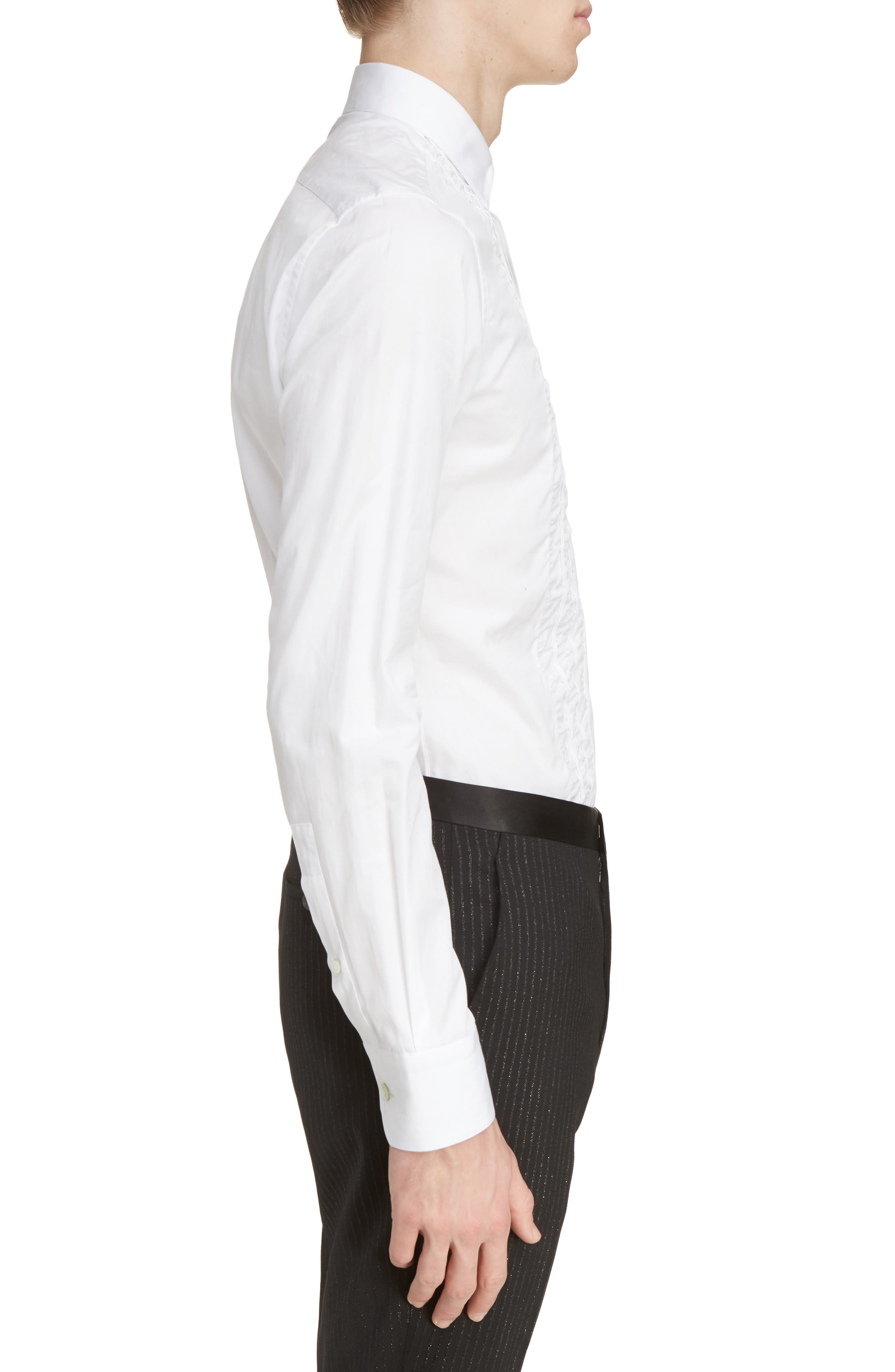 Ruffle Tuxedo Shirt,                             Alternate thumbnail 4, color,