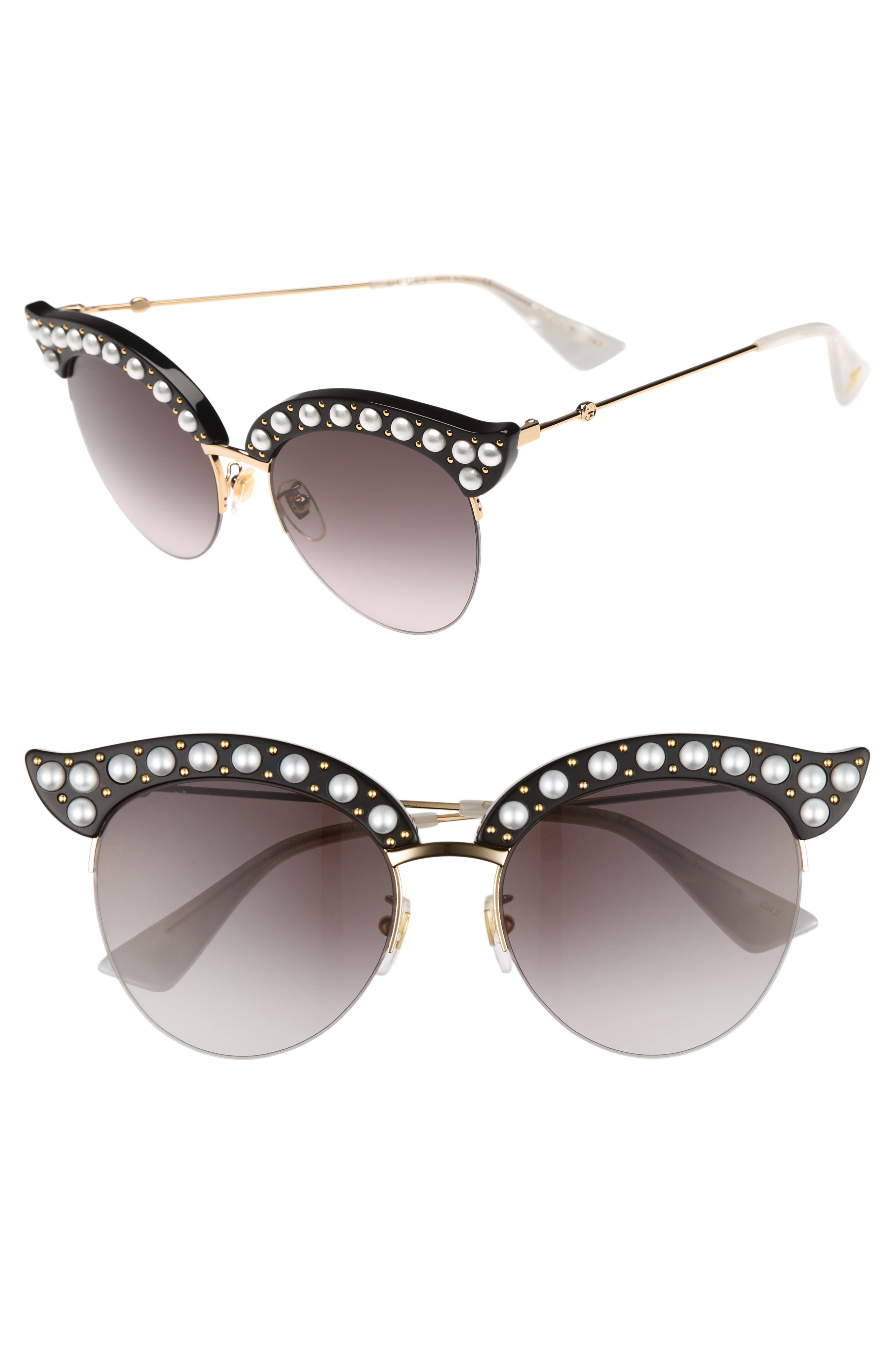 53mm Embellished Cat Eye Sunglasses,                             Main thumbnail 1, color,                             BLACK
