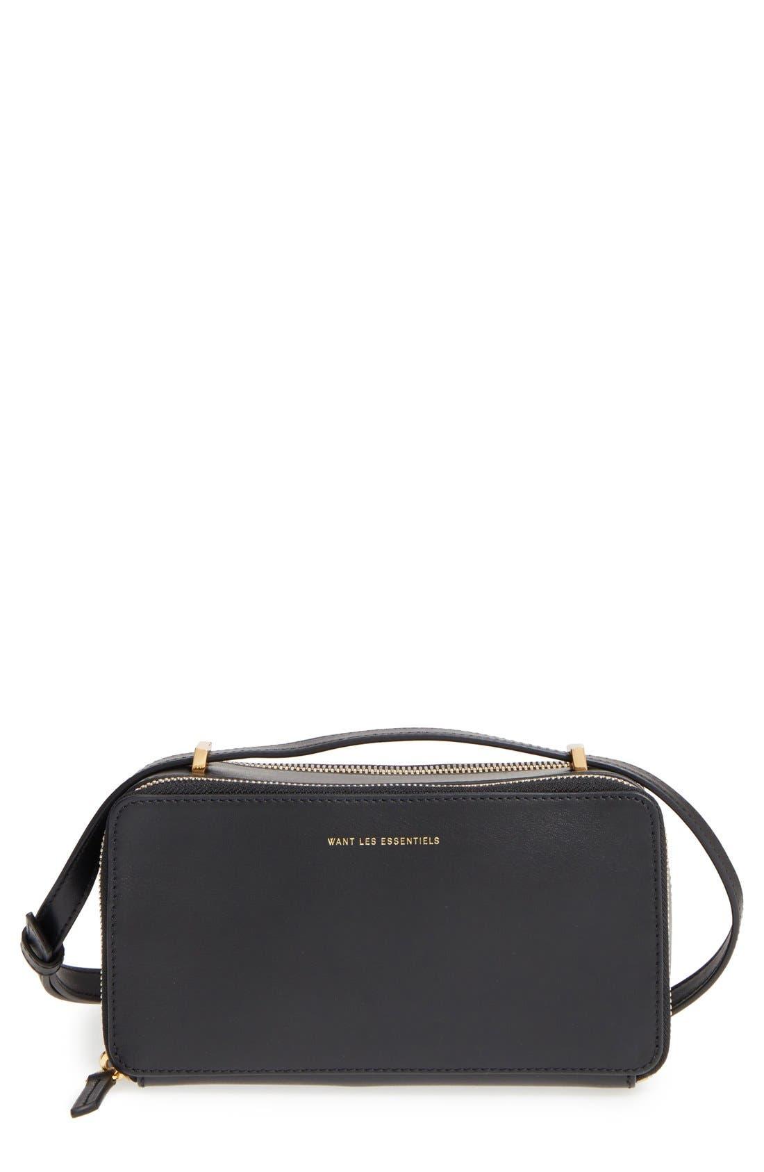WANT LES ESSENTIELS,                             'Demiranda' Leather Shoulder Bag,                             Main thumbnail 1, color,                             001