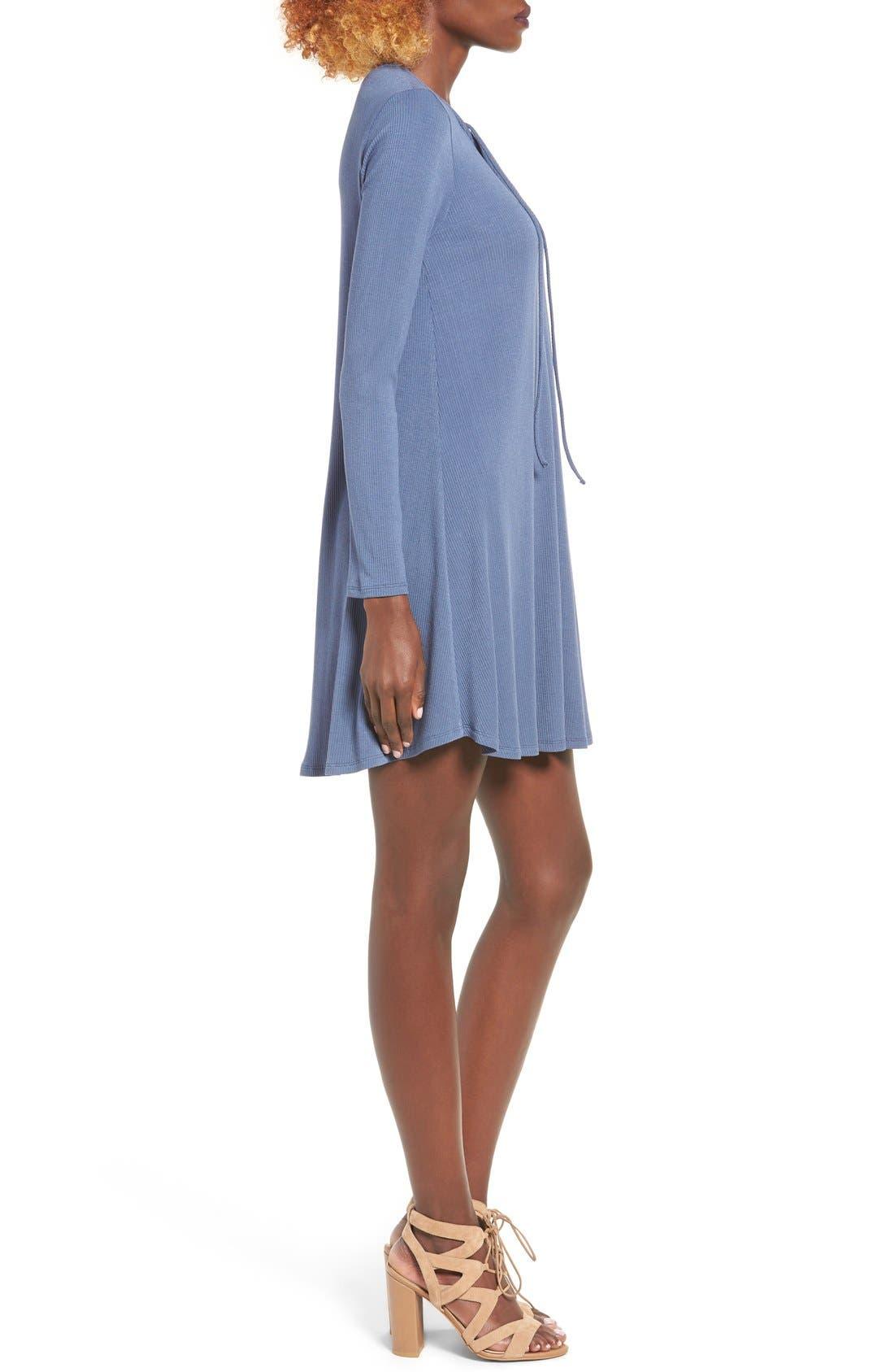 Rib Knit Lace-Up Swing Dress,                             Alternate thumbnail 8, color,
