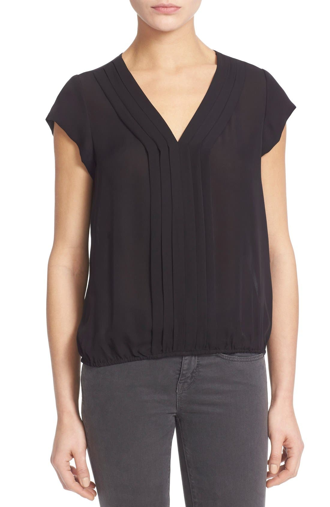 'Marcher' Pleated Silk Top,                             Main thumbnail 1, color,                             002