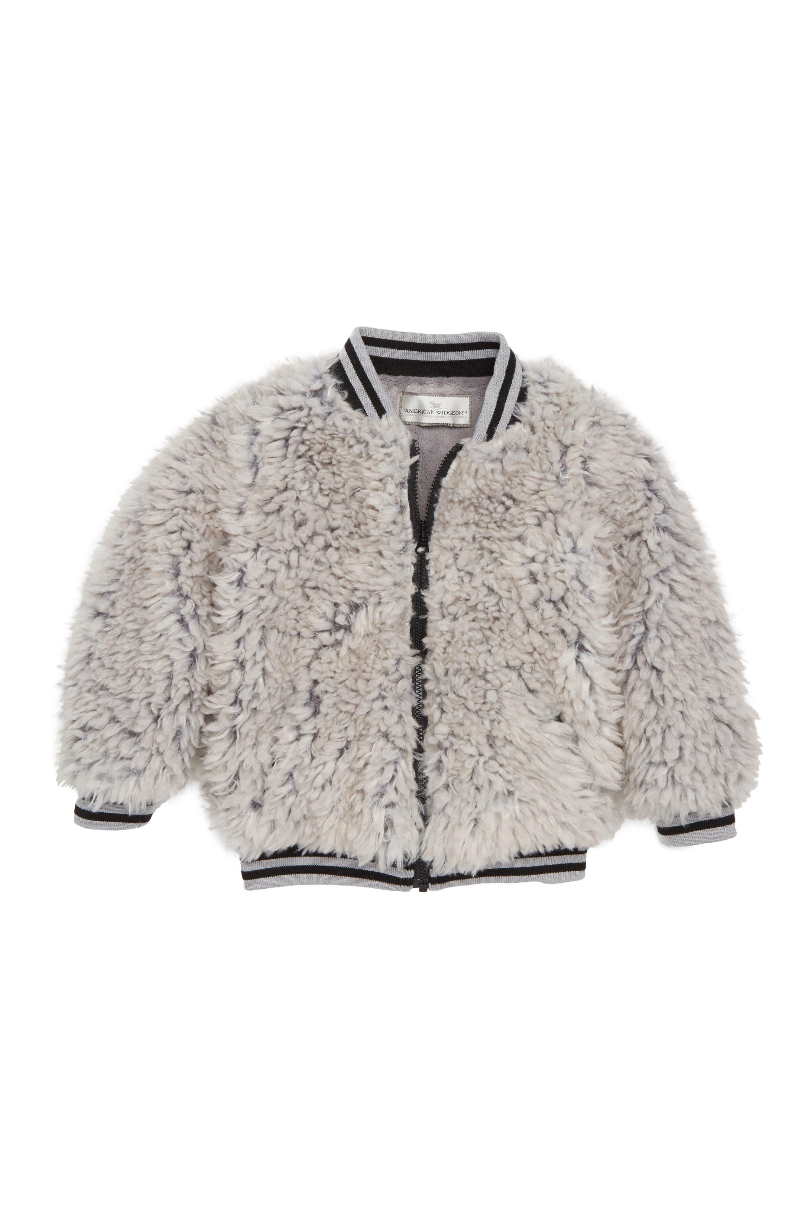 Happy Lil Faux Fur Varsity Jacket,                             Main thumbnail 1, color,                             050