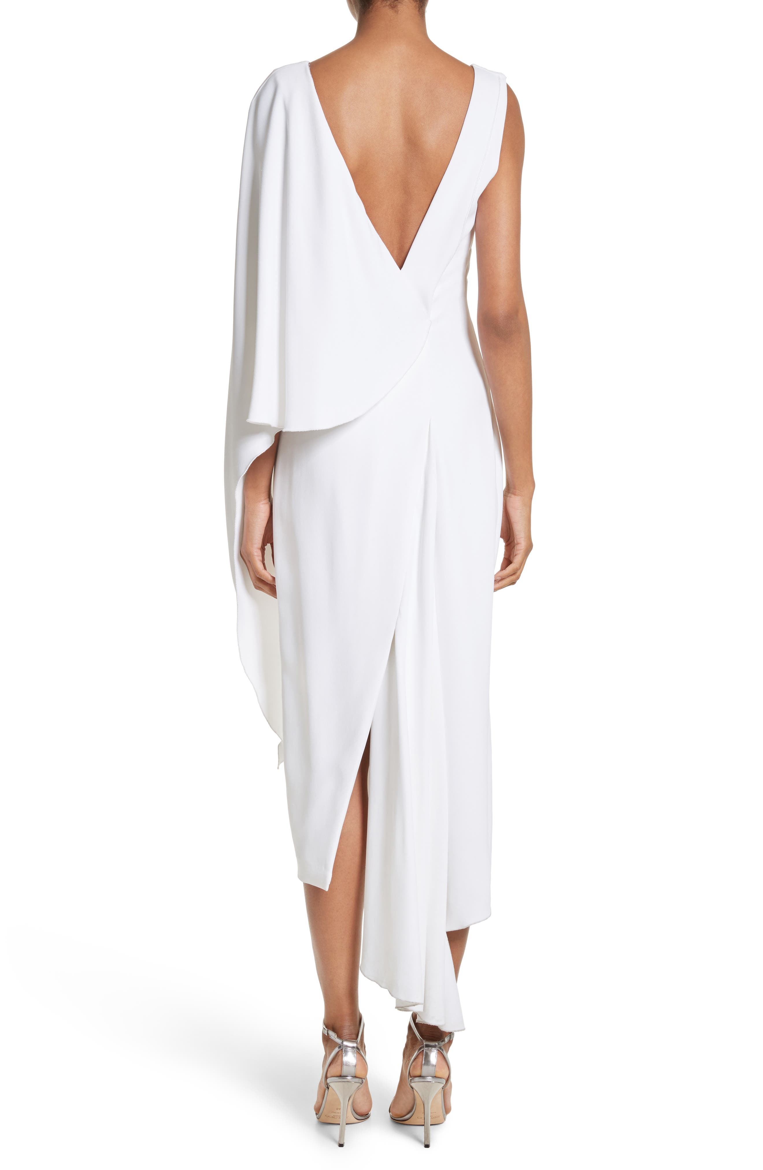 Leta Drape Dress,                             Alternate thumbnail 2, color,                             WHITE