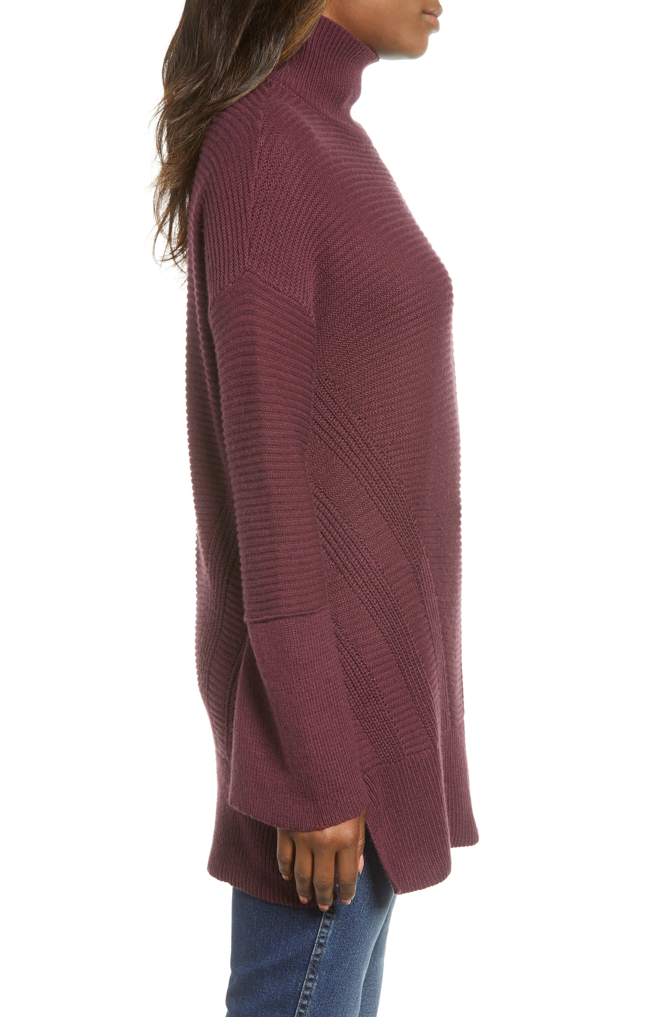 Ribbed Turtleneck Tunic Sweater,                             Alternate thumbnail 3, color,                             BURGUNDY FIG