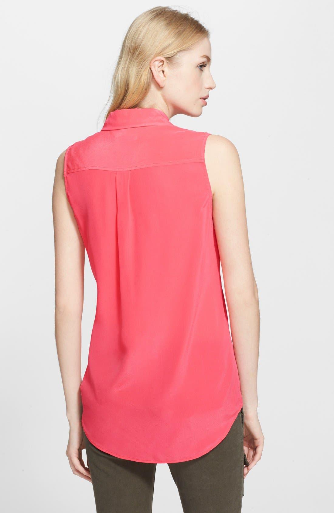 'Slim Signature' Sleeveless Silk Shirt,                             Alternate thumbnail 132, color,