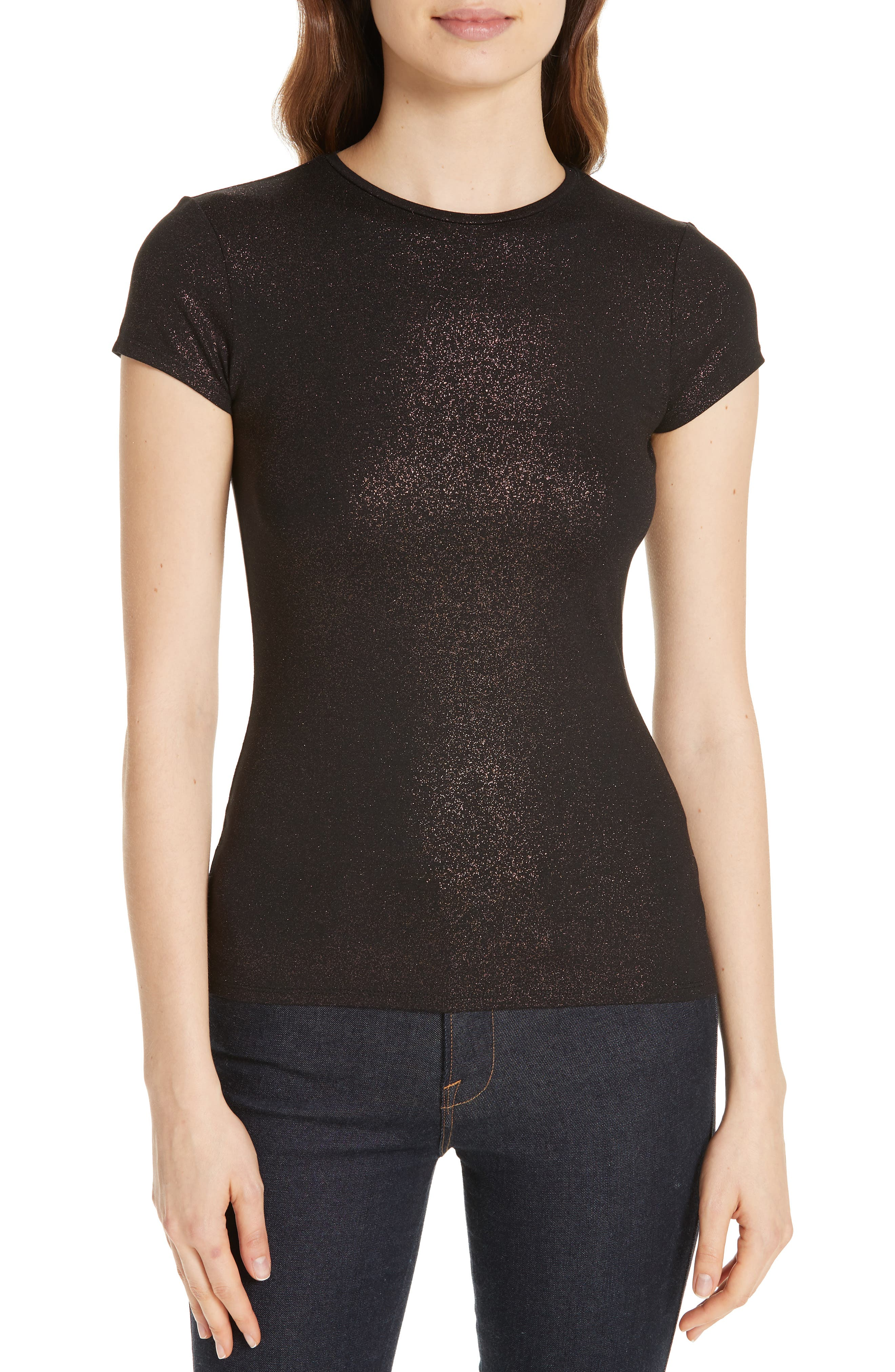 Amander Shimmer Fitted Tee,                             Main thumbnail 1, color,                             DARK BROWN
