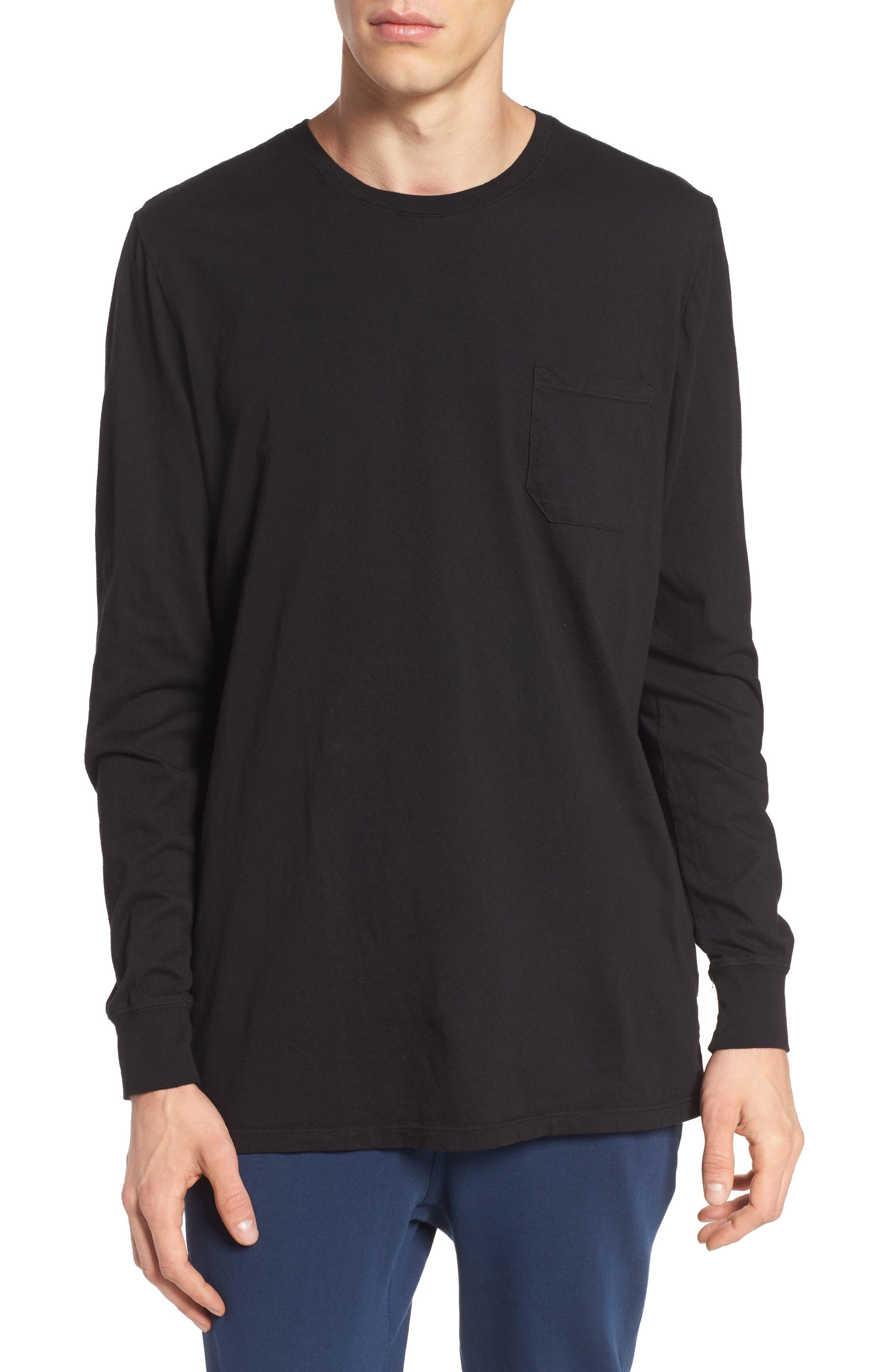 Lounge Long Sleeve Pocket T-Shirt,                             Main thumbnail 1, color,                             BLACK
