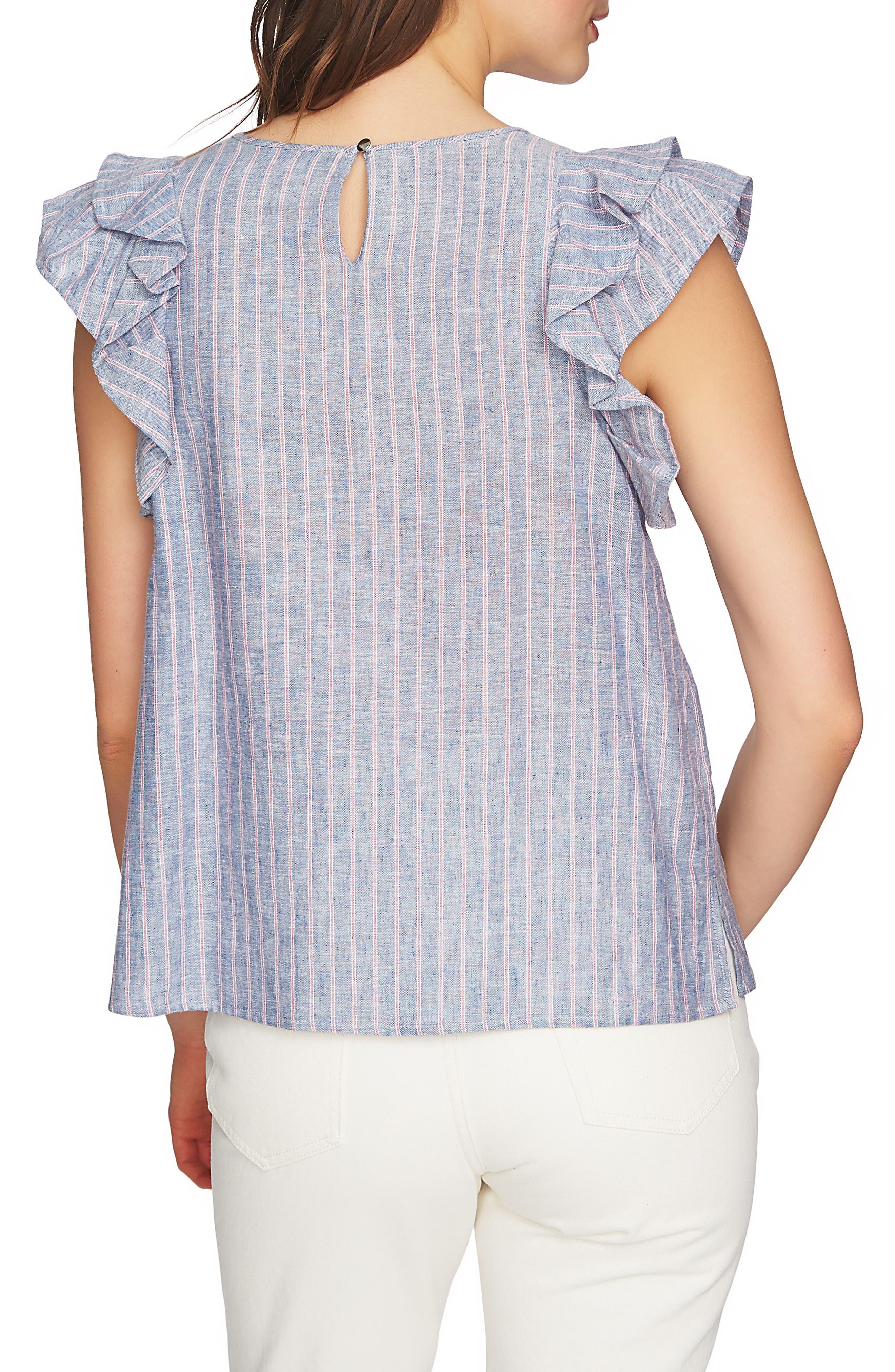 Flounce Sleeve Linen Top,                             Alternate thumbnail 2, color,                             090