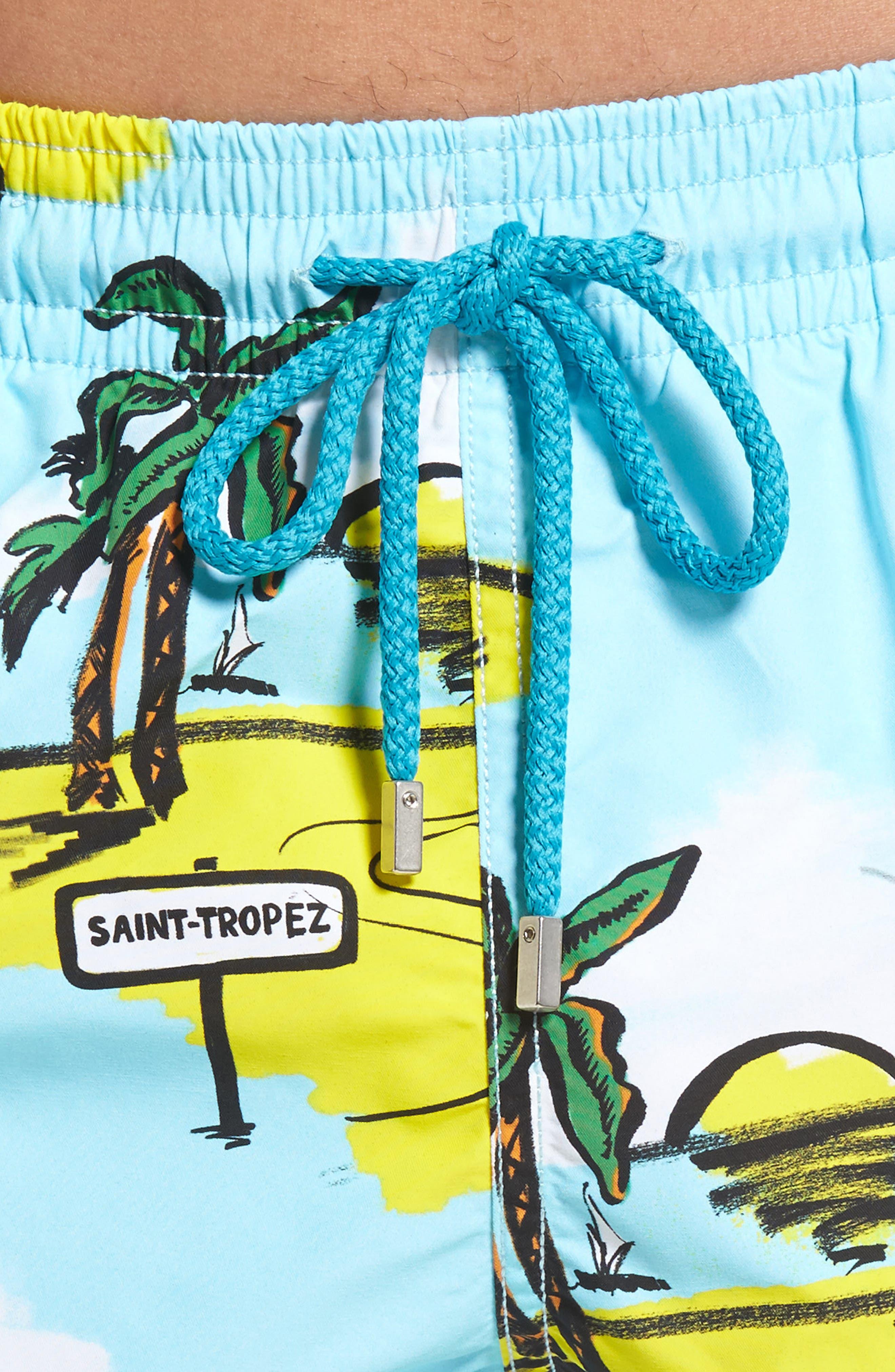 Moorea Mini Moke Print Swim Trunks,                             Alternate thumbnail 4, color,                             FROSTED BLUE