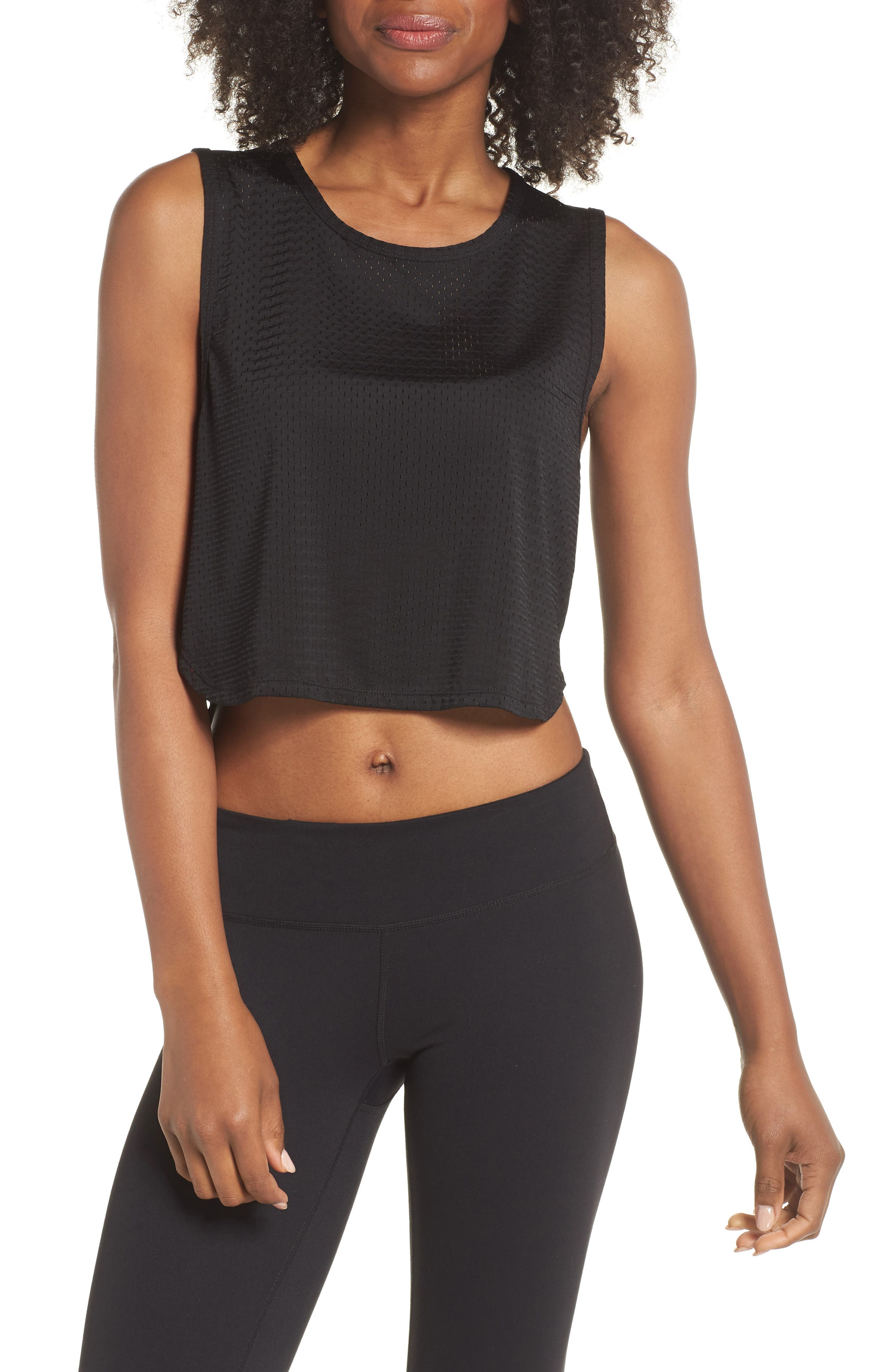 Leona Crop Tank,                         Main,                         color, BLACK