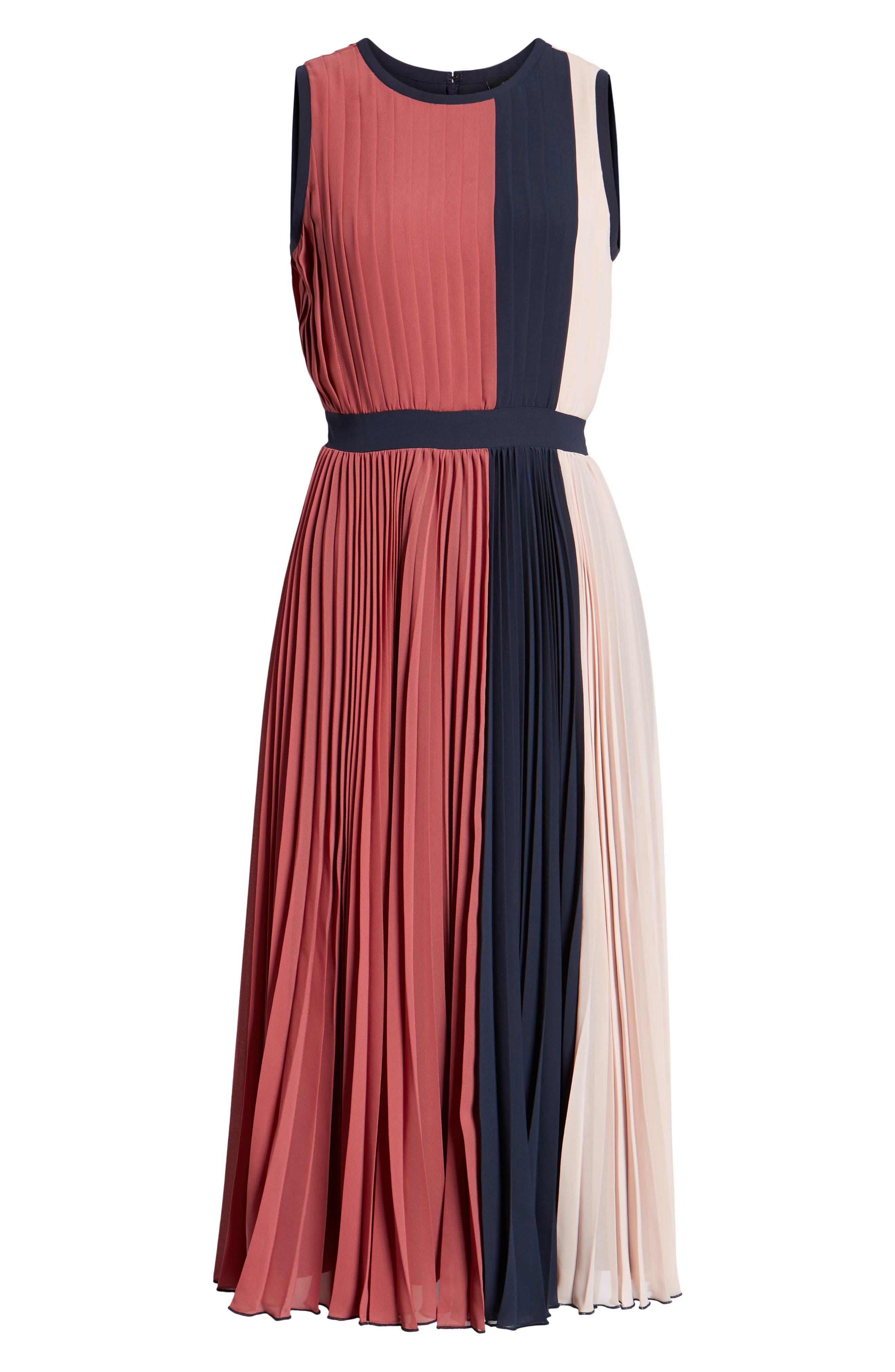 x Atlantic-Pacific Colorblock Pleated Midi Dress,                             Alternate thumbnail 7, color,                             PINK- NAVY COLORBLOCK