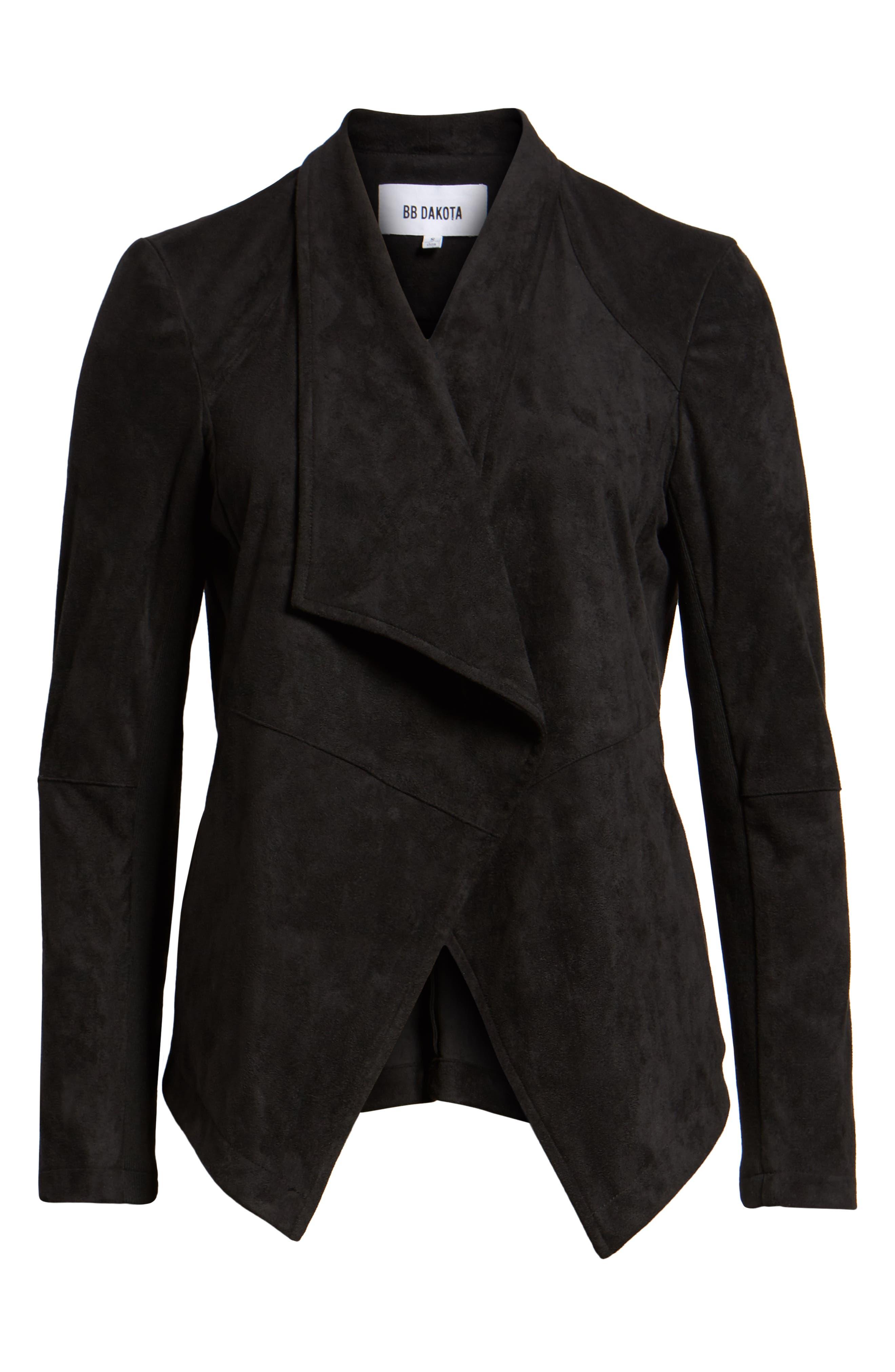 Nicholson Faux Suede Drape Front Jacket,                             Alternate thumbnail 6, color,                             001