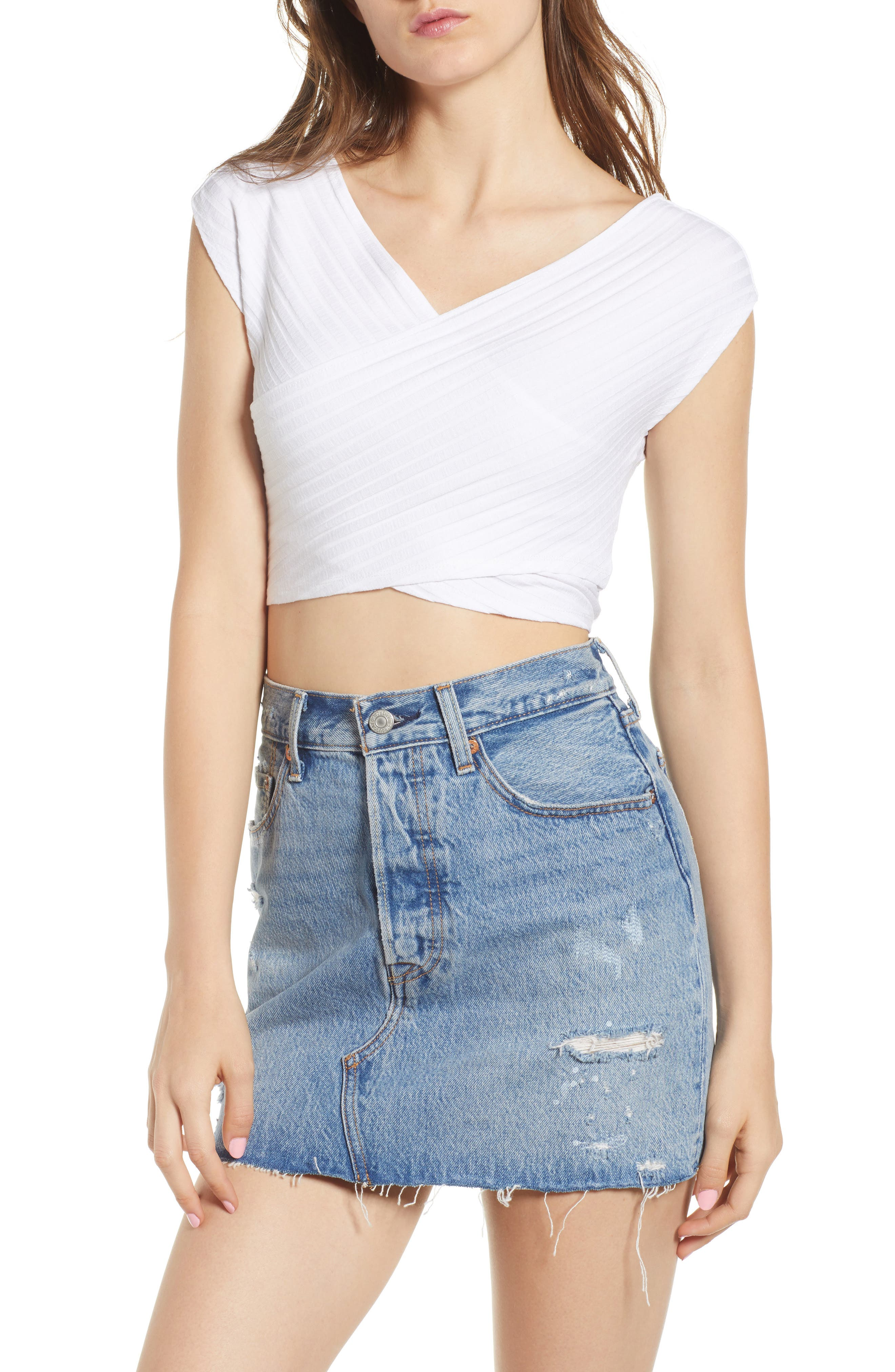 Ribbed Wrap Crop Top,                         Main,                         color, WHITE