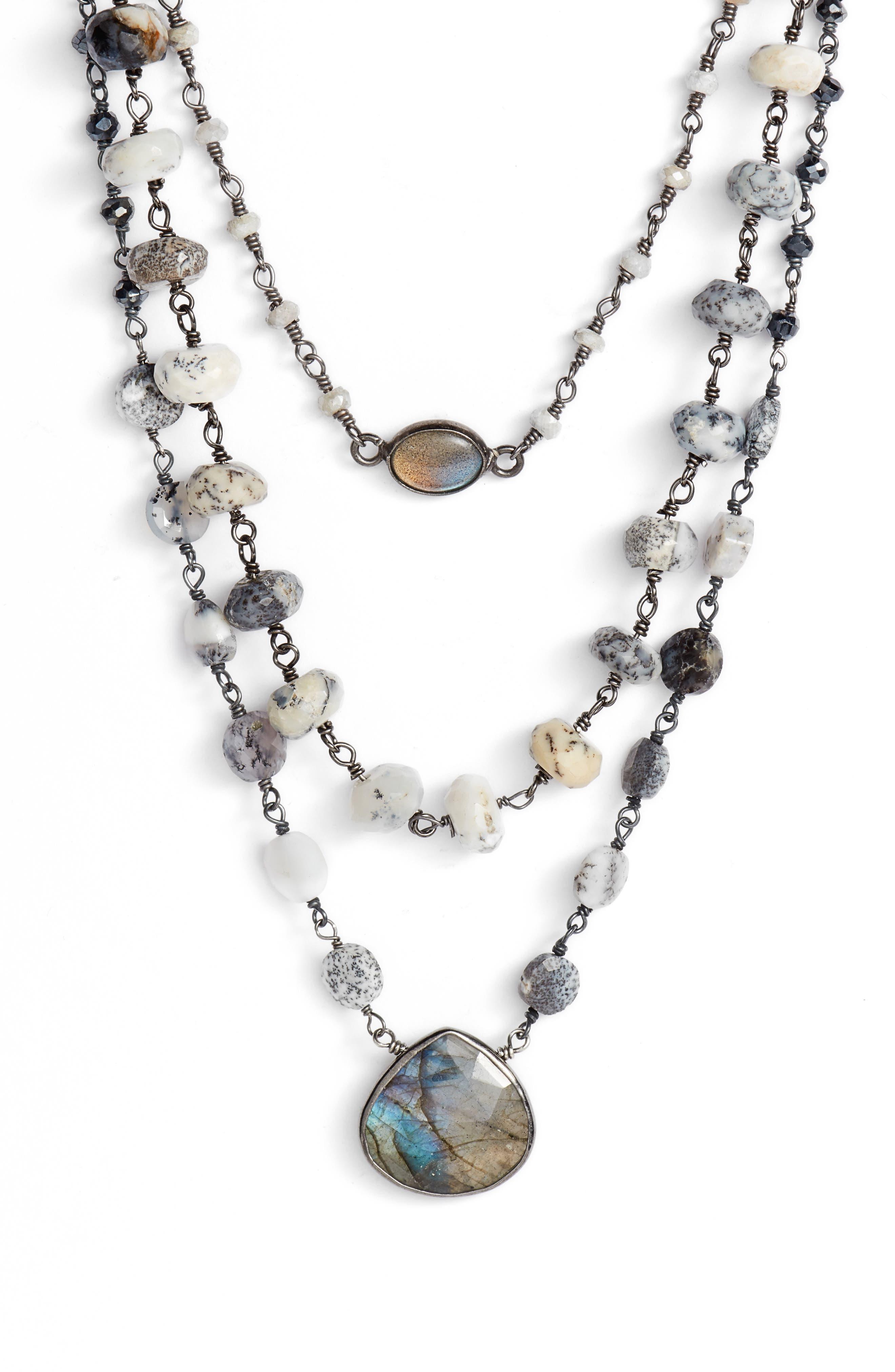 Multistrand Necklace,                             Main thumbnail 1, color,                             MYSTIC WHITE/ LABARDORITE