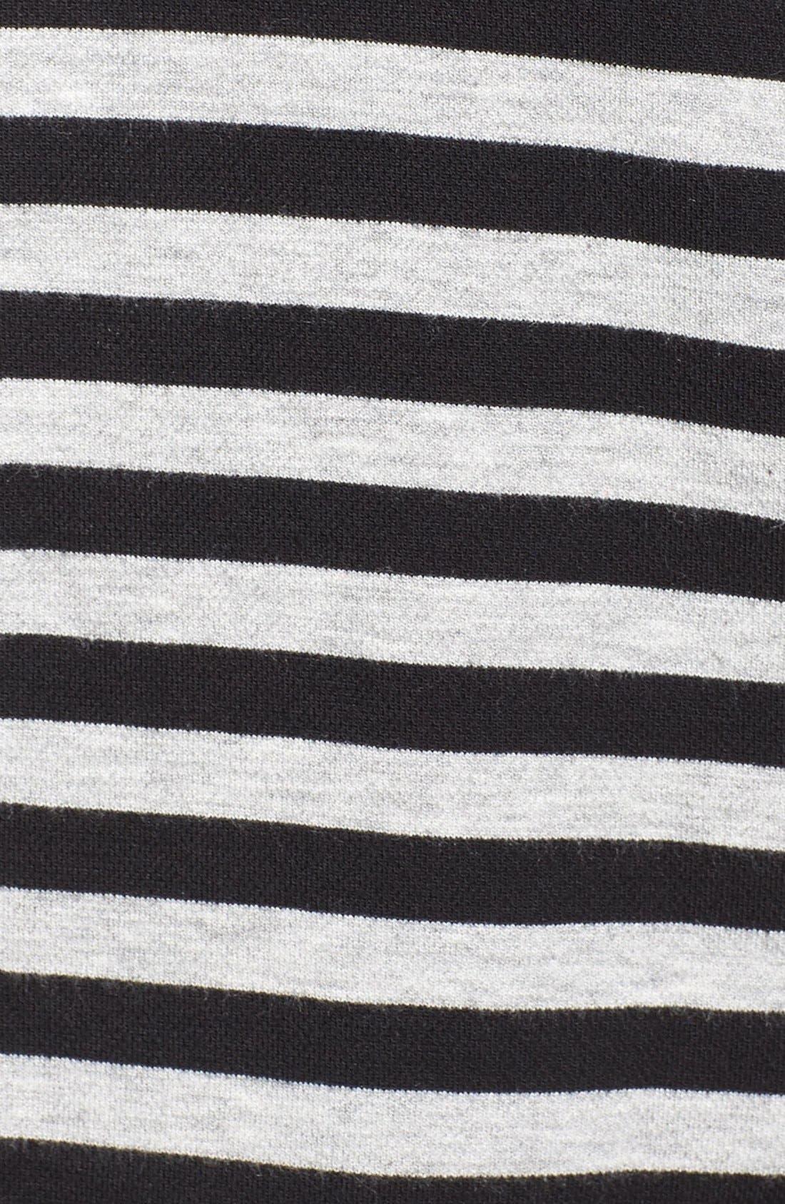 'Veronicka' Stripe Knit Open Front Jacket,                             Alternate thumbnail 5, color,                             BLACK/ HEATHER GREY STRIPE