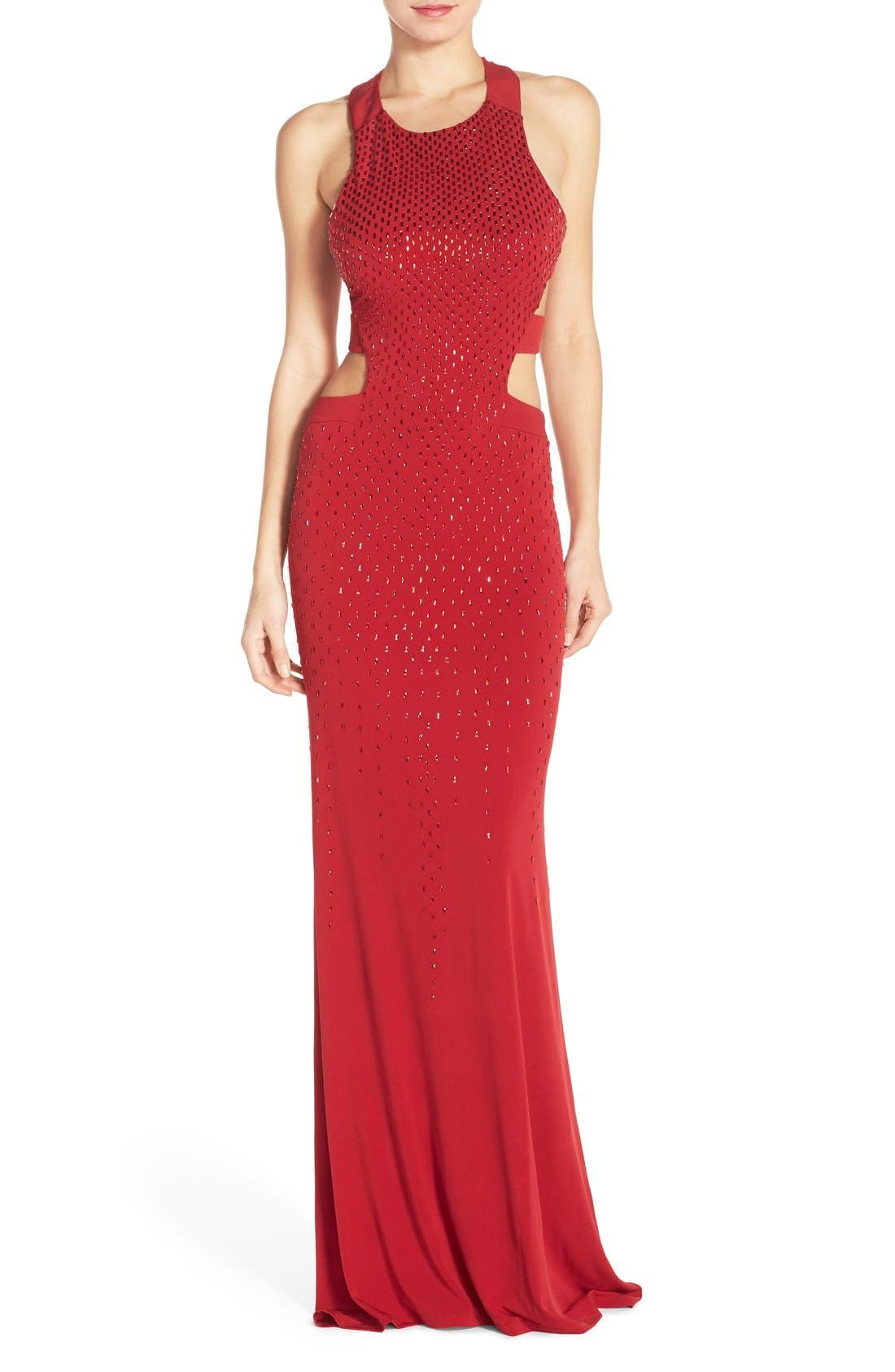 Cutout Embellished Jersey Gown,                             Main thumbnail 1, color,                             CRIMSON