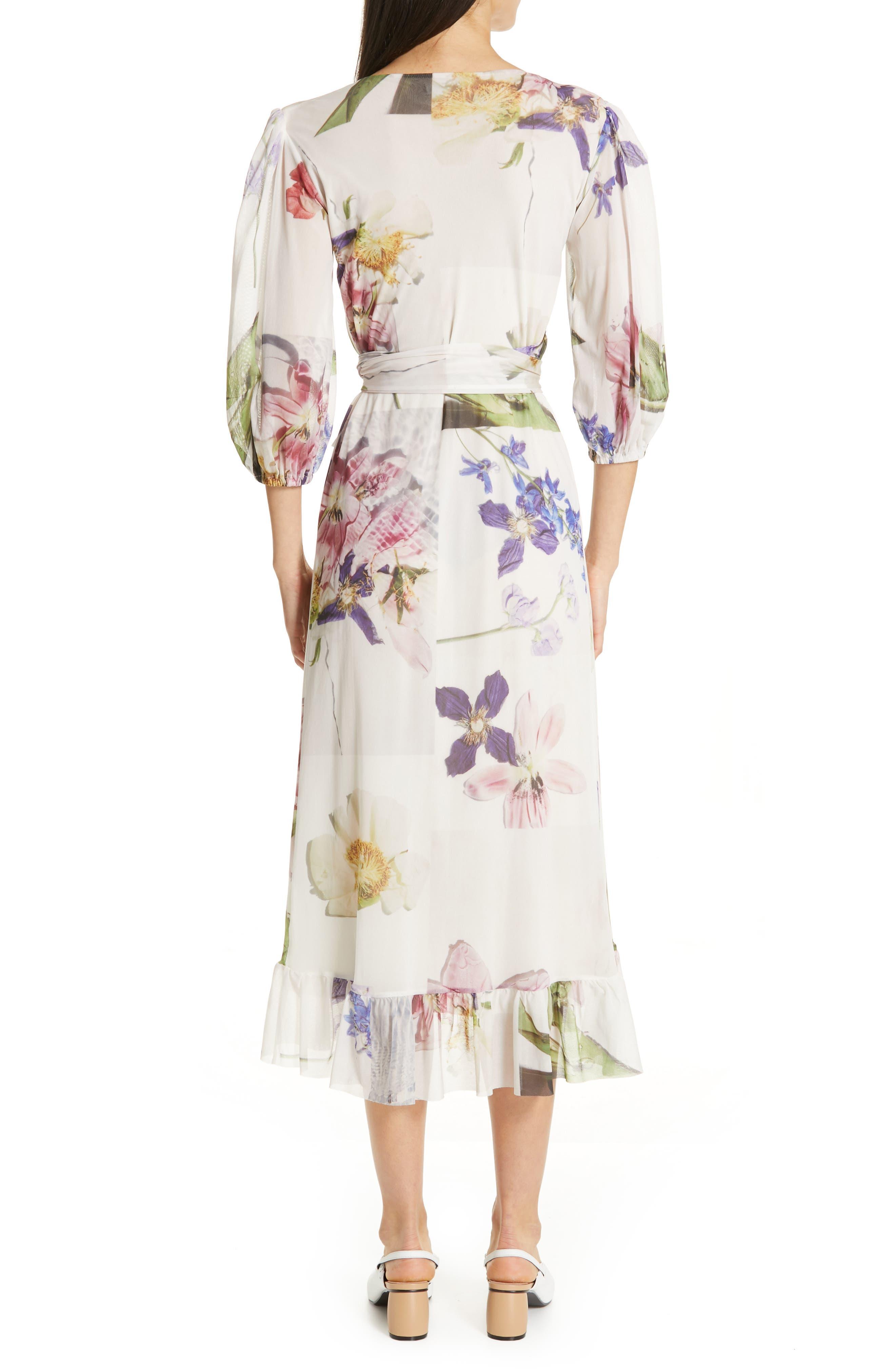 GANNI,                             Floral Print Mesh Dress,                             Alternate thumbnail 2, color,                             BRIGHT WHITE